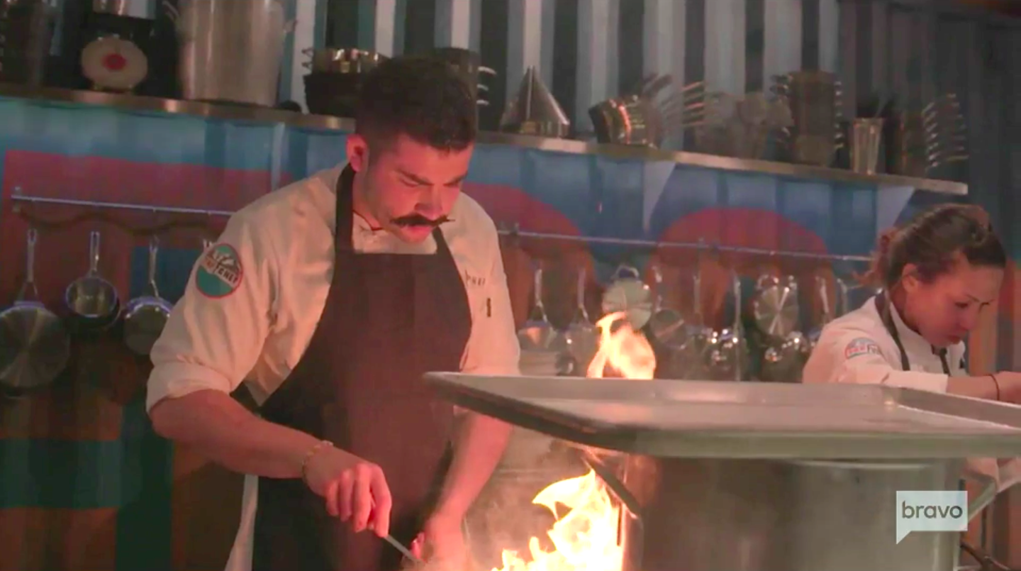 A scene in the kitchen from Top Chef: Colorado
