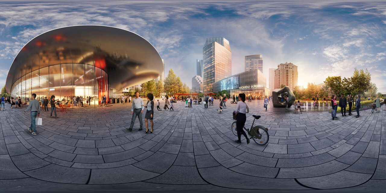 A rendering of a central plaza area for Buckhead proposed park.