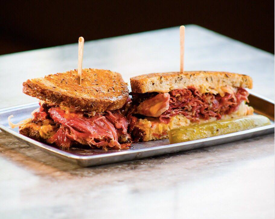 Dave's corned beef sandwich with Swiss cheese, aged sauerkraut, and Thousand Island dressing at Moody's