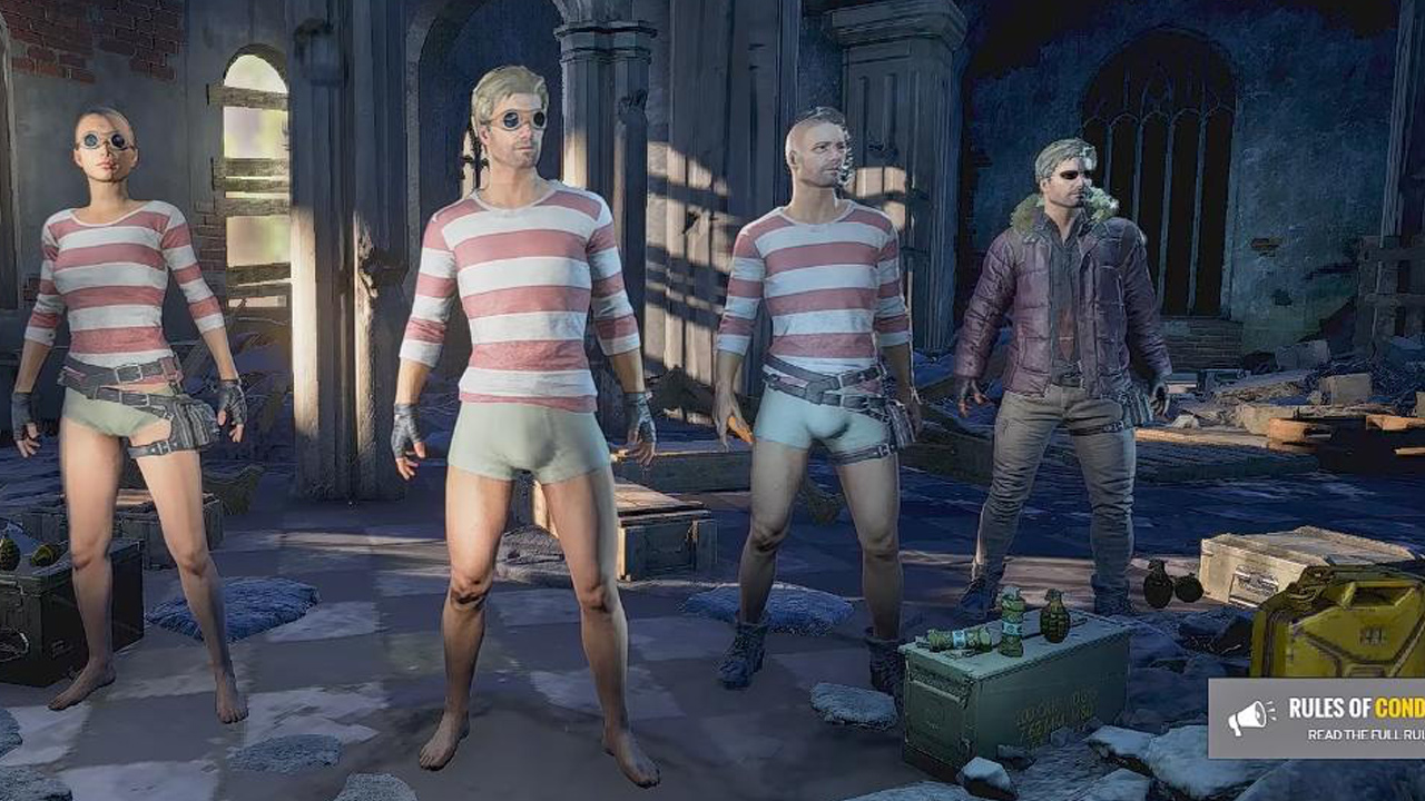 PlayerUnknown's Battlegrounds - four different men in character lobby
