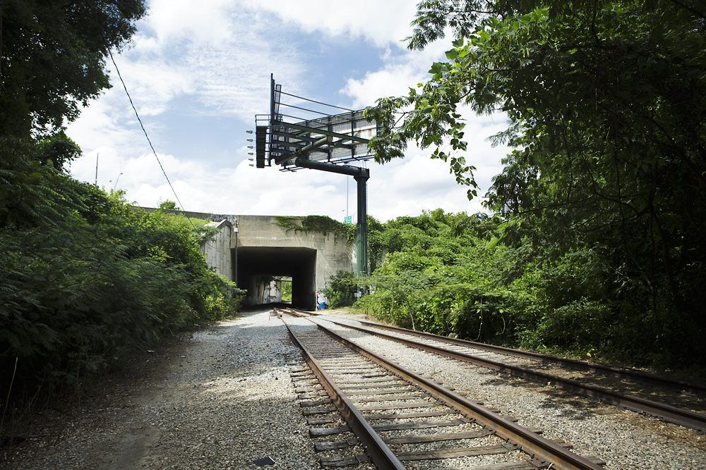 As seen in summer 2014, tracks run under Interstate 85 north. This is practically the most northern point of the 22-mile Beltline loop.