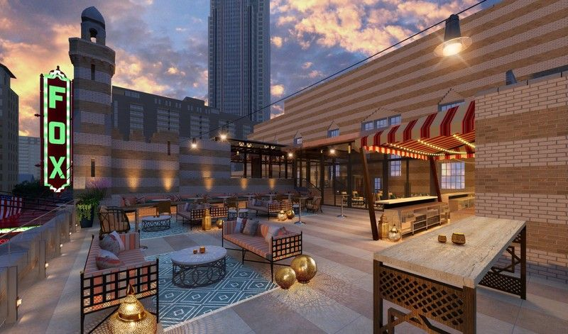 In Atlanta, southward views from the Fox's under-construction rooftop terrace.