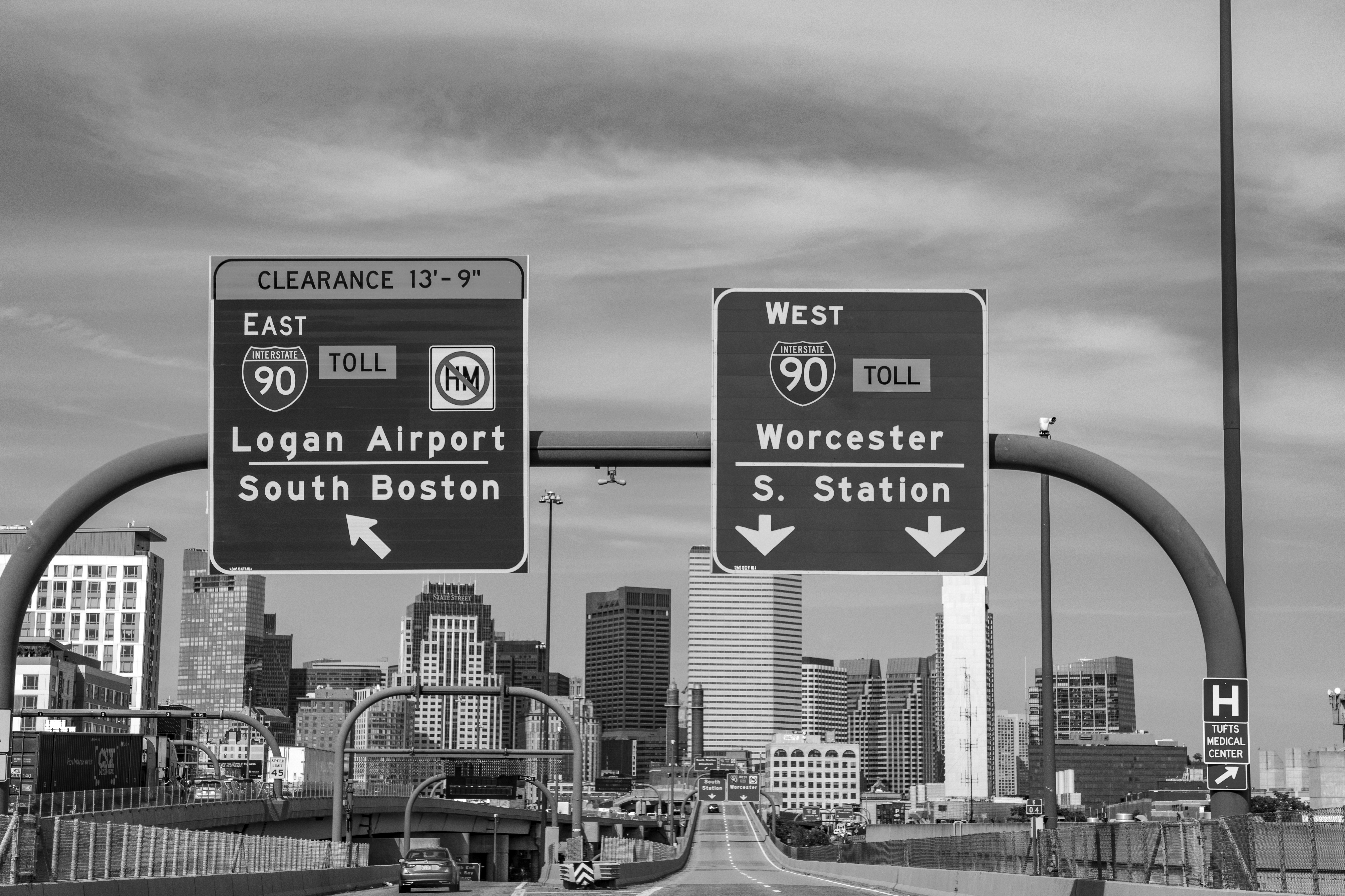 Highway signs leading to Boston.
