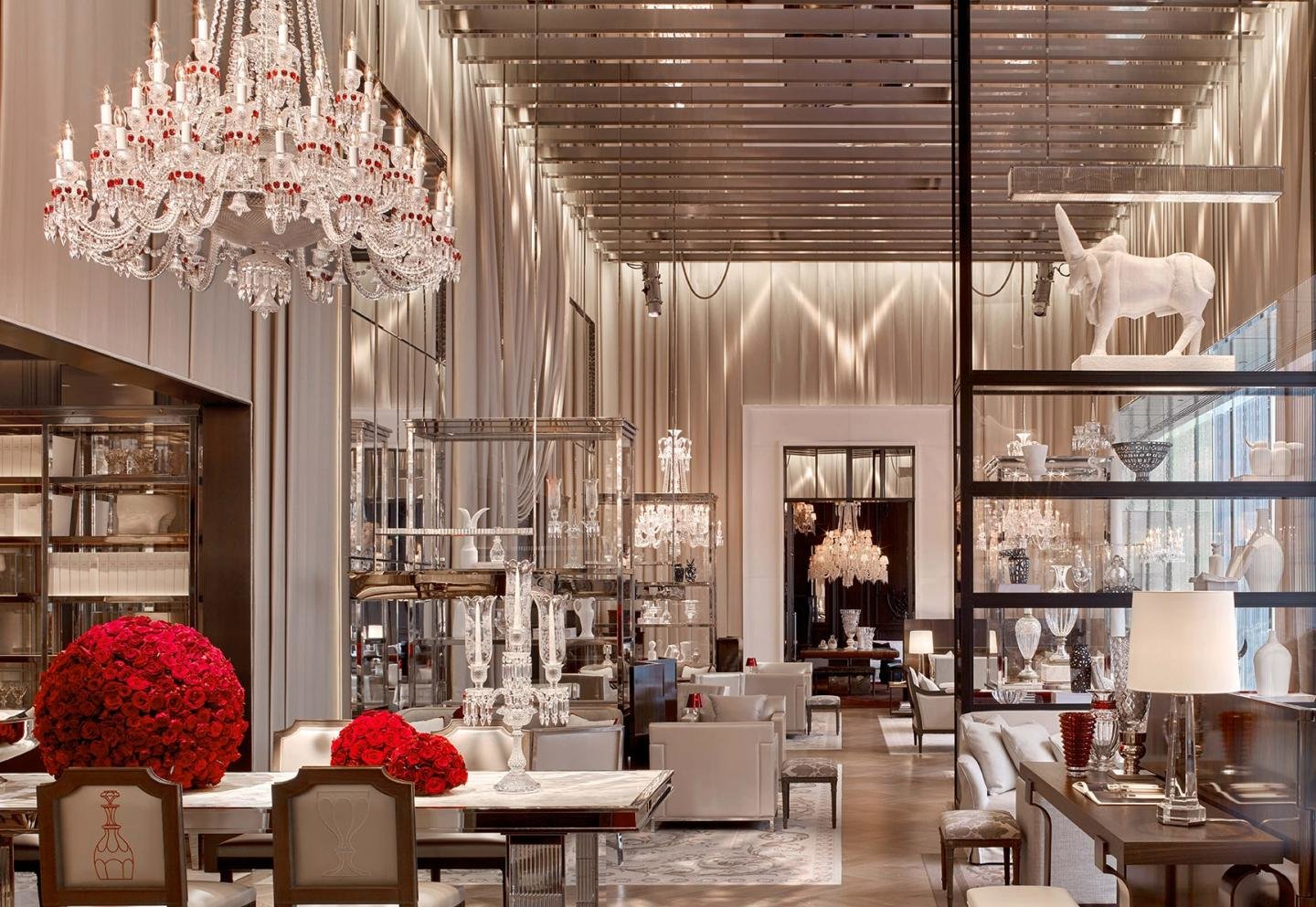 Baccarat Hoel in New York with crystal chandeliers