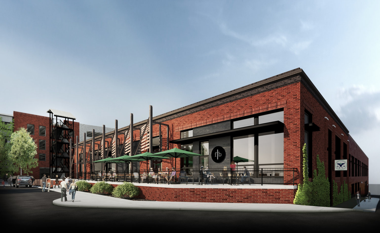 A rendering of Stockyards Atlanta and The Painted Duck's entrance.