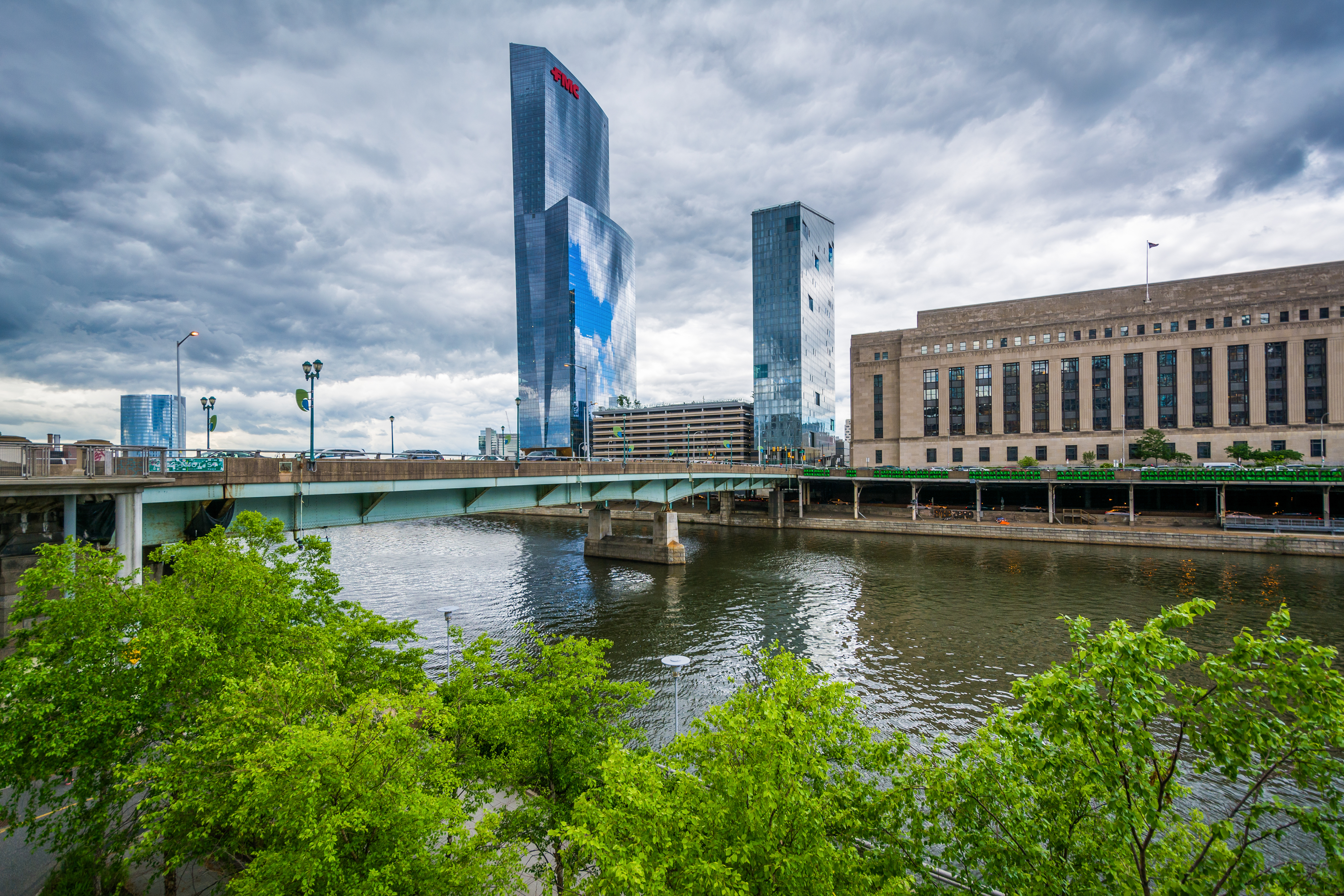 A view of the new FMC Tower along the Schuylkill River in Philadelphia.