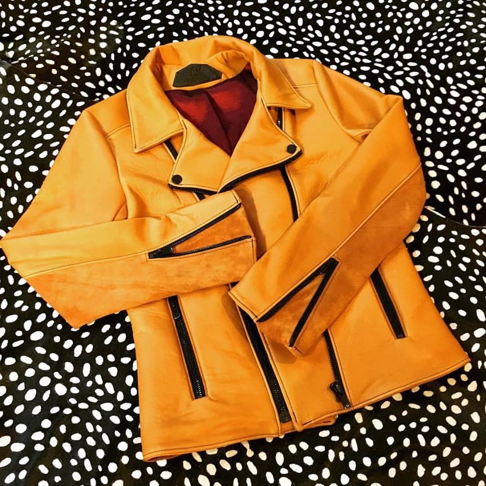 A mustard-colored leather jacket