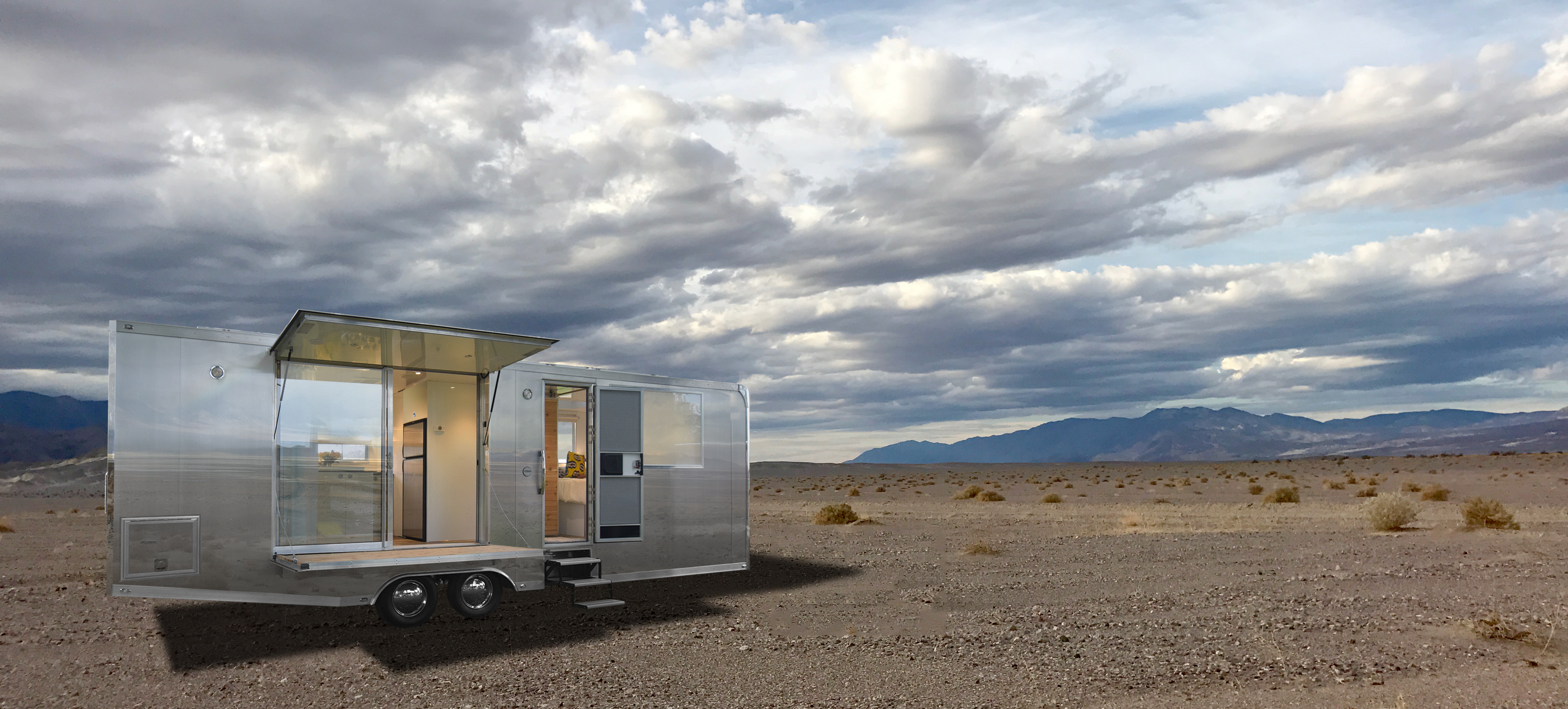 Shiny aluminum camper is built to go off-grid