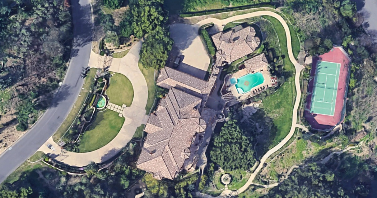 Aerial view of the Ball residence