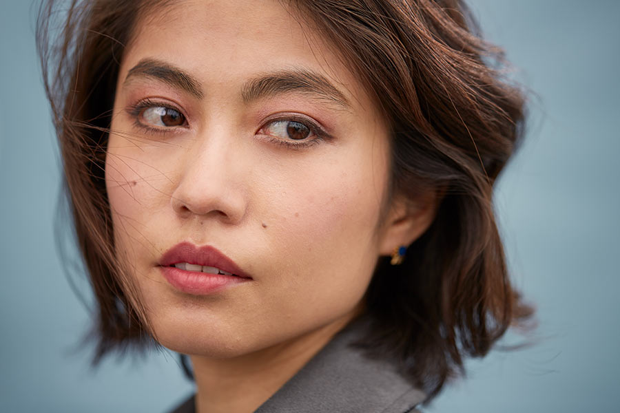 A woman in Japanese-style makeup