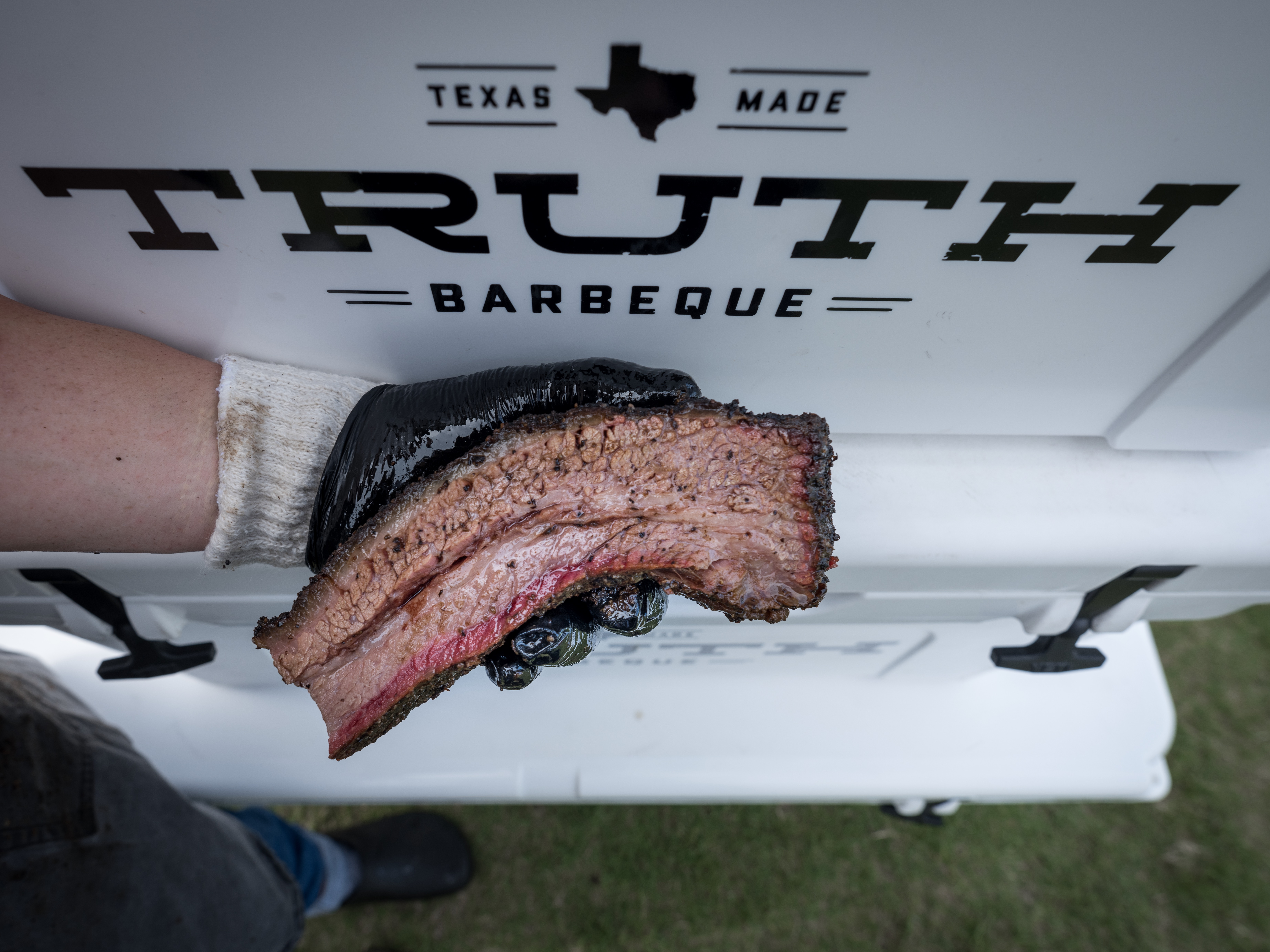 Brisket from Truth BBQ attracted quite a line