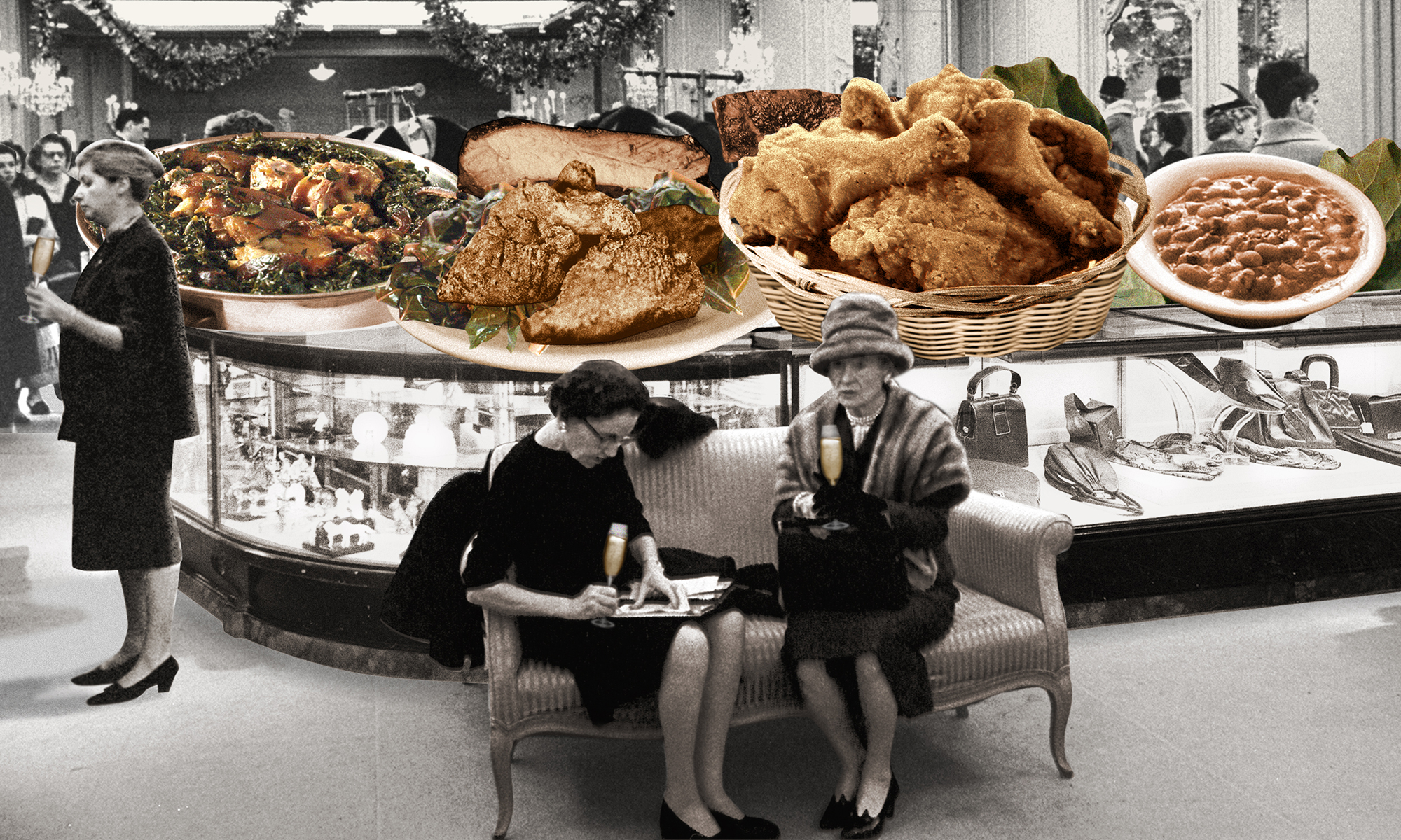 Collage image with women drinking champagne in a fancy department store, with images of soul food including fried chicken, black-eyed peas, and collard greens on the counter