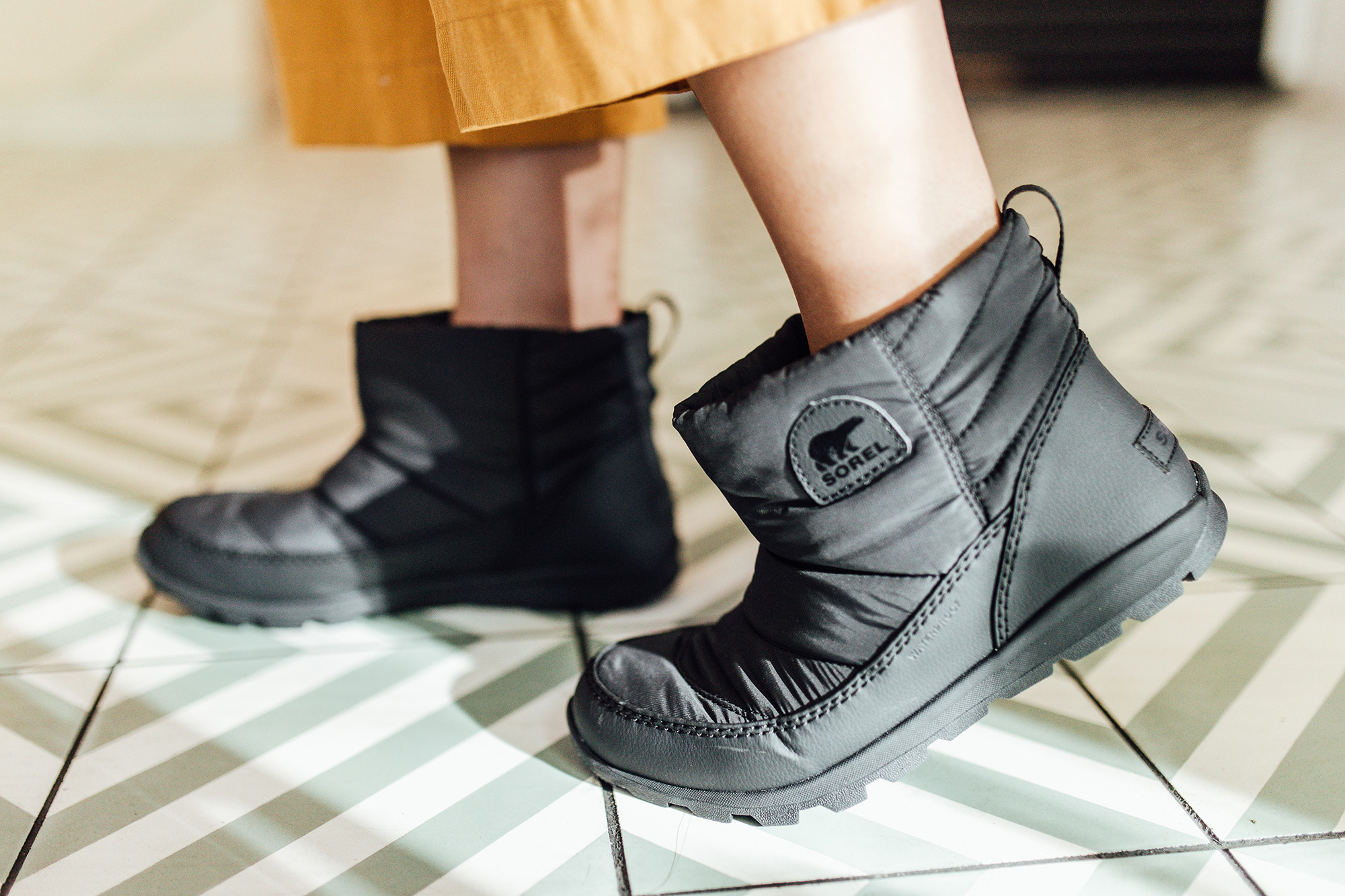 Cute quilted black booties