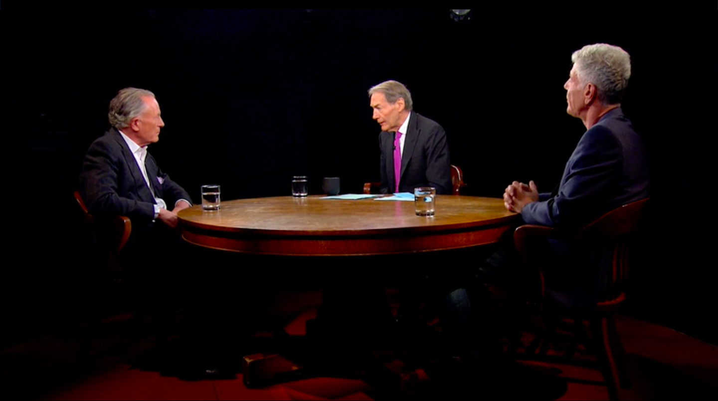 Jeremiah Tower, Charlie Rose, and Anthony Bourdain taking during a segment on Rose's show