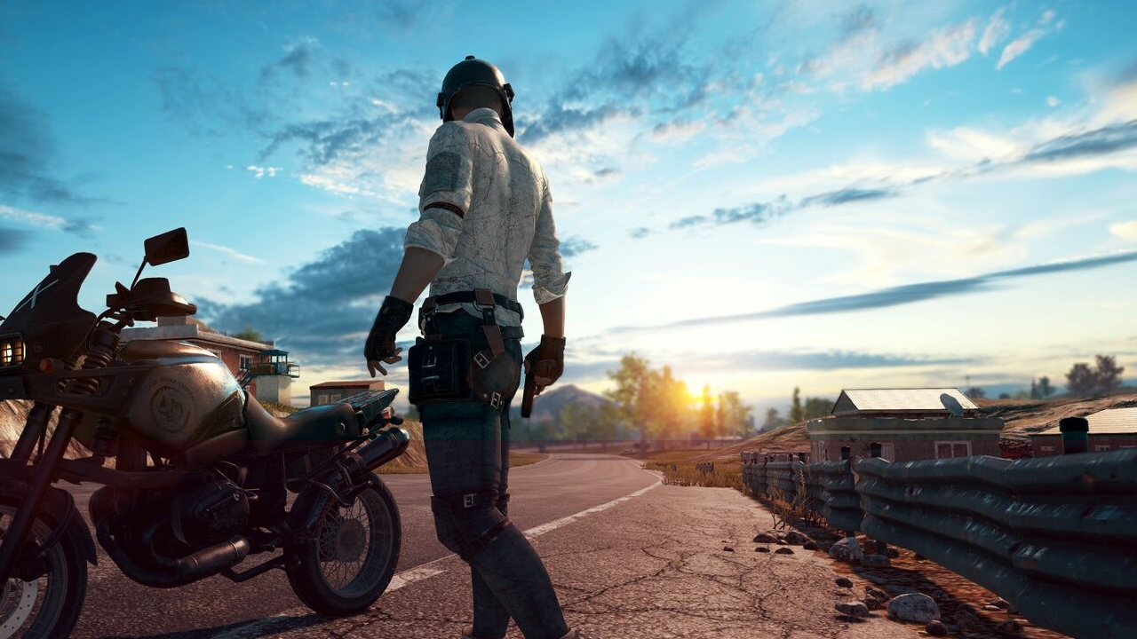 Playerunknown's Battlegrounds - man and motorcycle at sunset