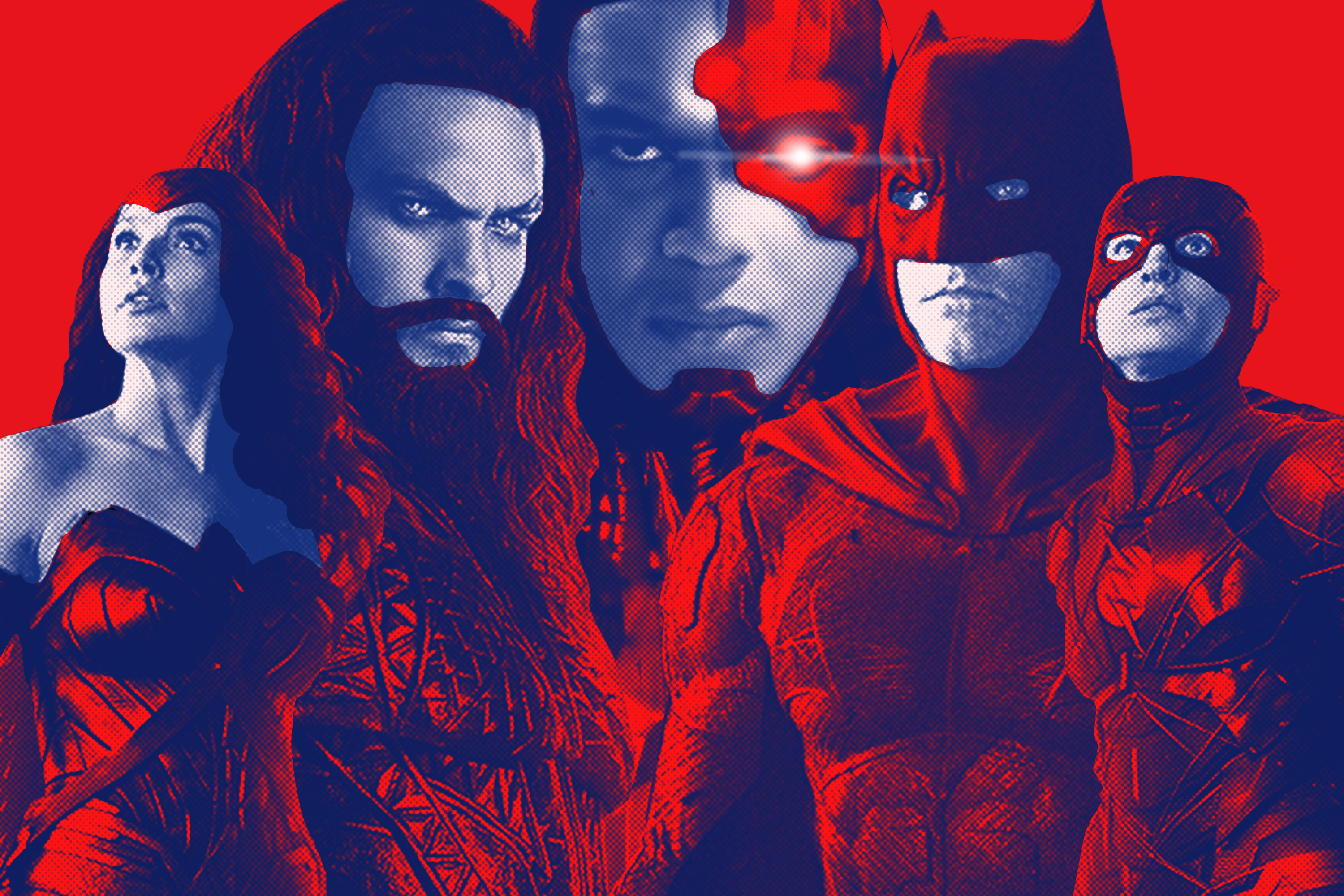 A collage of Wonder Woman, Aquaman, Cyborg, Batman, and the Flash from 'Justice League'
