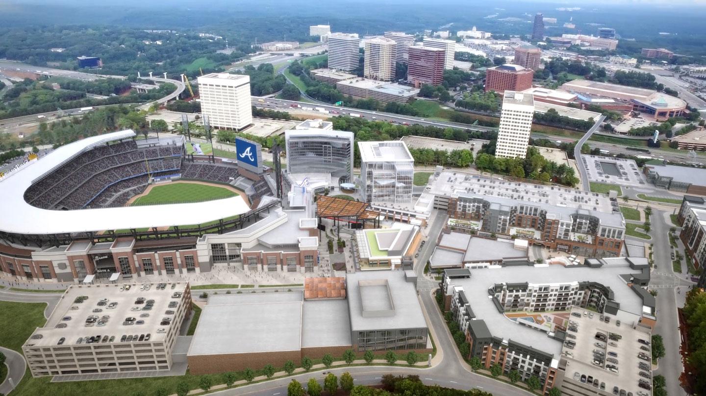 An aerial view of SunTrust Park in Atlanta.