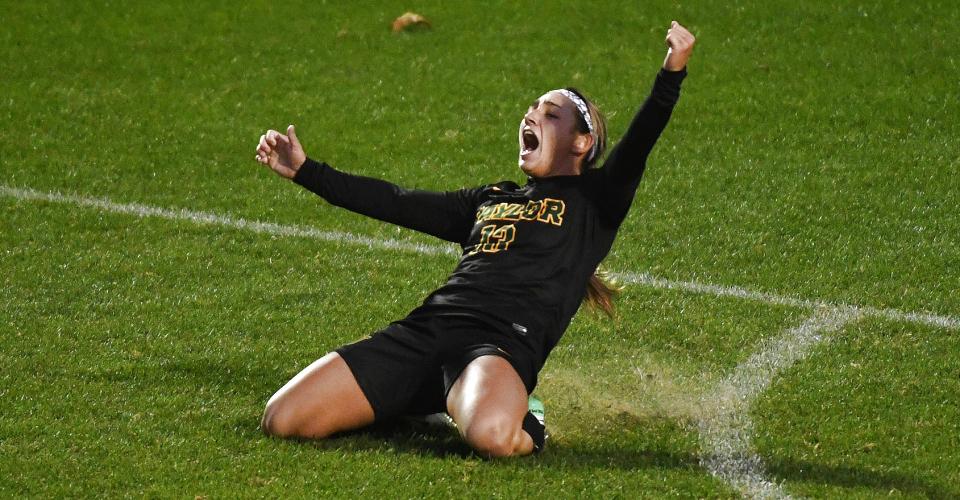 Baylor's Lauren Piercy celebrates against TCU during the Big 12 Soccer Championship at Swope Soccer Village in Kansas City, Missouri on November 5, 2017. (Scott D. Weaver/Big 12 Conference)