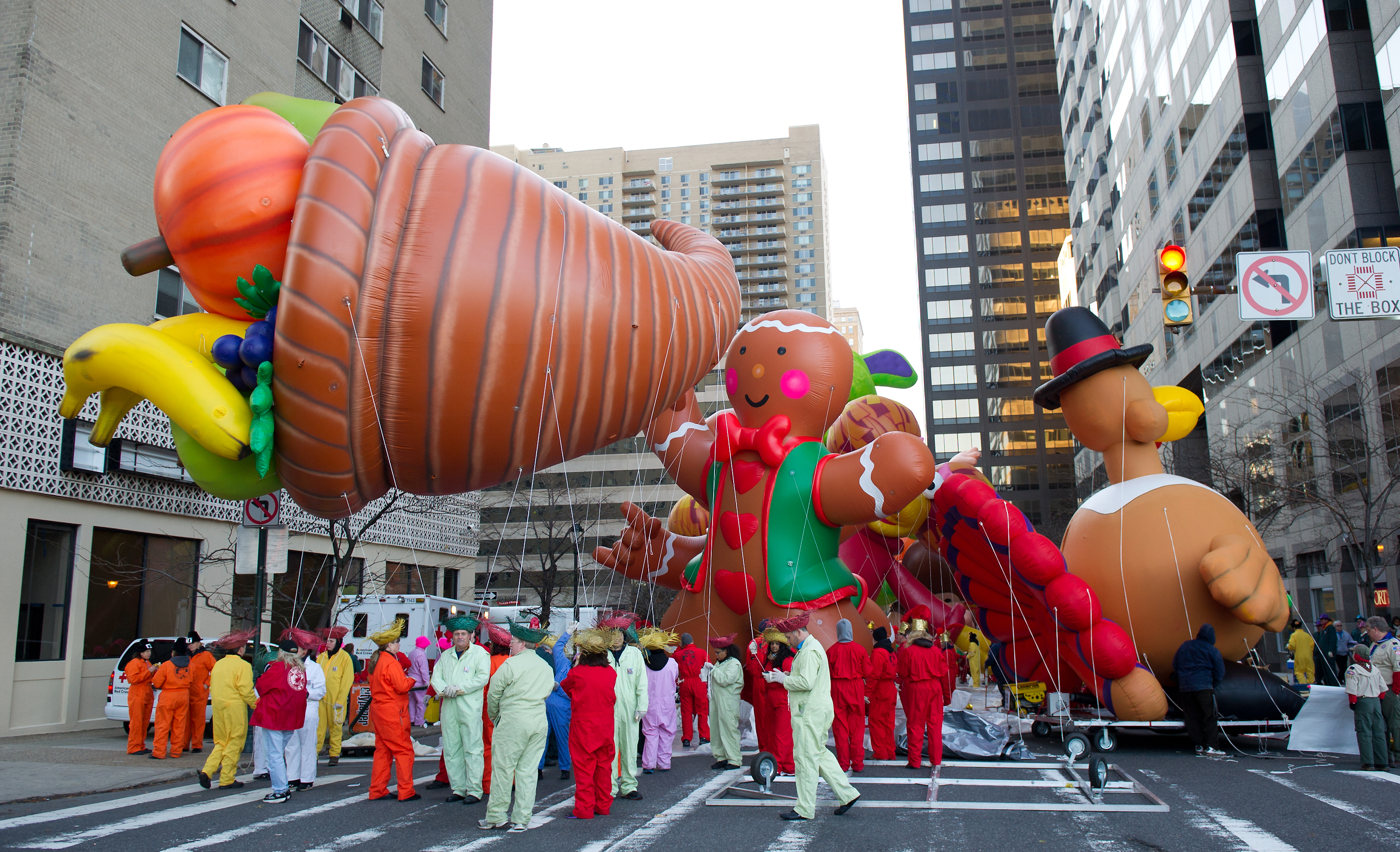 PHILADELPHIA, PA - NOVEMBER 24:  A general view of the balloons during the 92nd Annual 6ABC Dunkin' Donuts Thanksgiving Day Parade on November 24, 2011 in Philadelphia, Pennsylvania.  (Photo by Gilbert Carrasquillo/Getty Images)