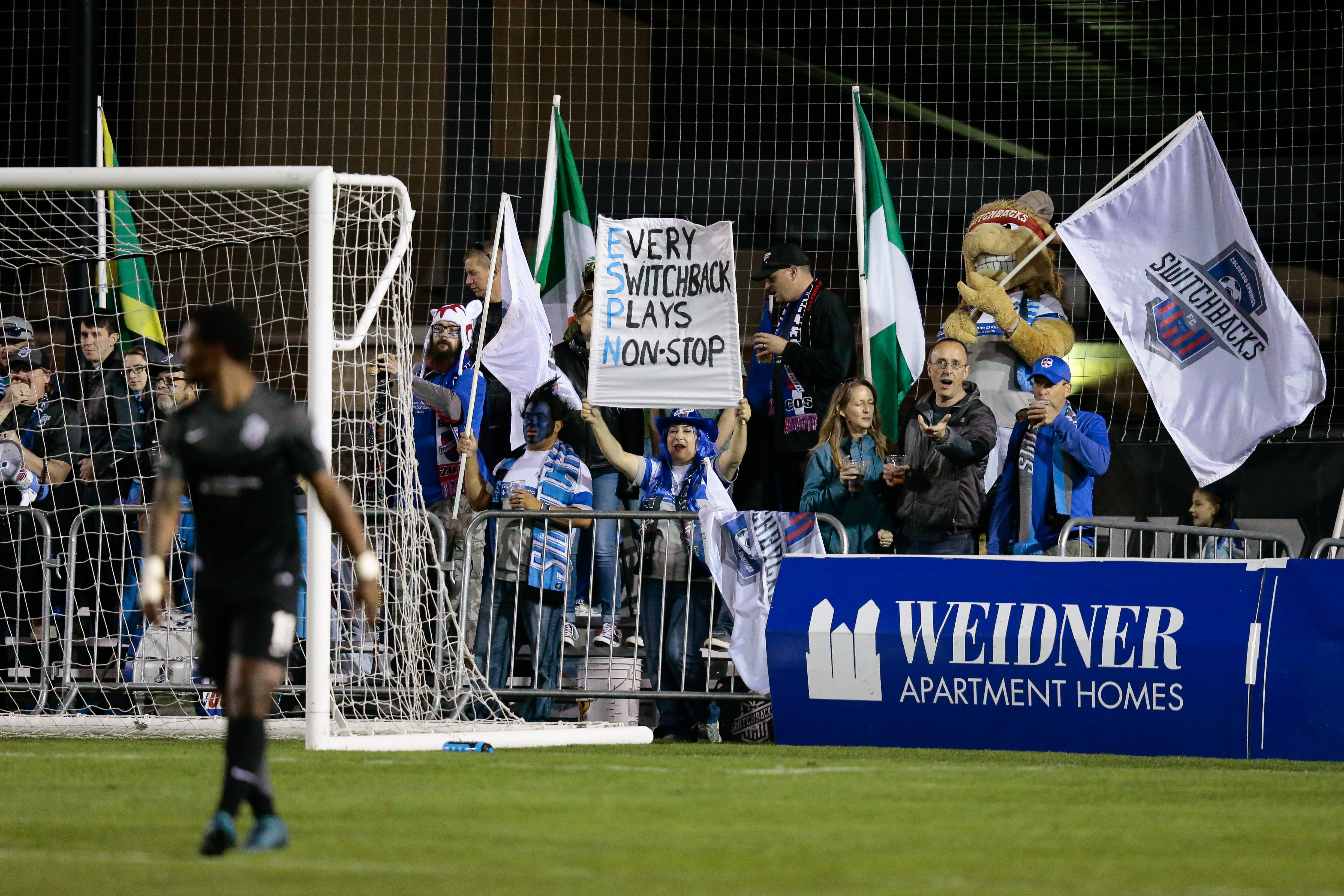 Oct 7, 2017; Colorado Springs, CO, USA; Colorado Springs Switchbacks FC fans in the second half against Sacramento Republic FC at Weidner Field. Credit: Isaiah J. Downing/Switchbacks FC
