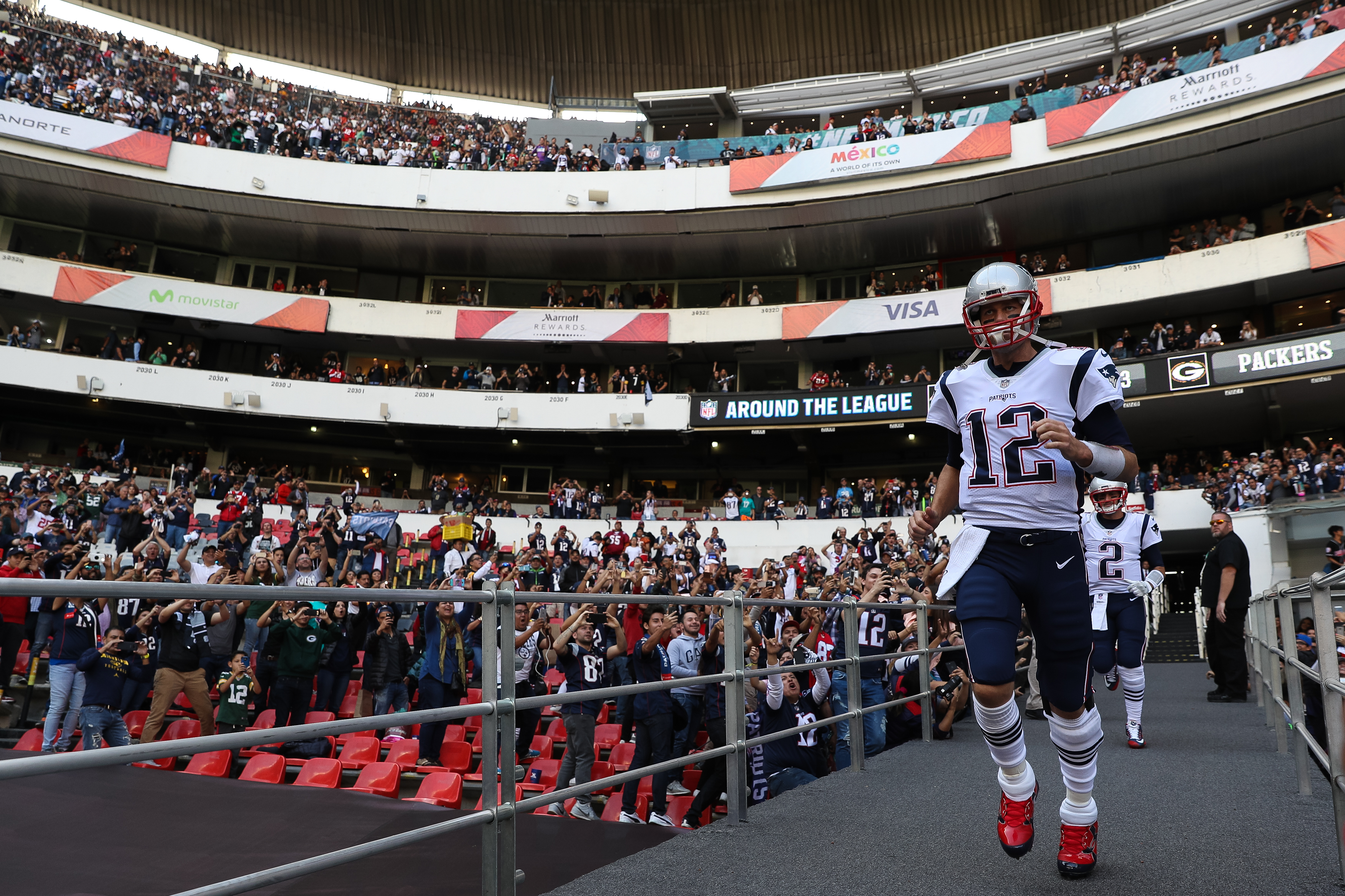 MEXICO CITY, MEXICO - NOVEMBER 19:  Tom Brady #12 of the New England Patriots takes the field for warm ups prior to the game against the Oakland Raiders at Estadio Azteca on November 19, 2017 in Mexico City, Mexico.  (Photo by Buda Mendes/Getty Images)