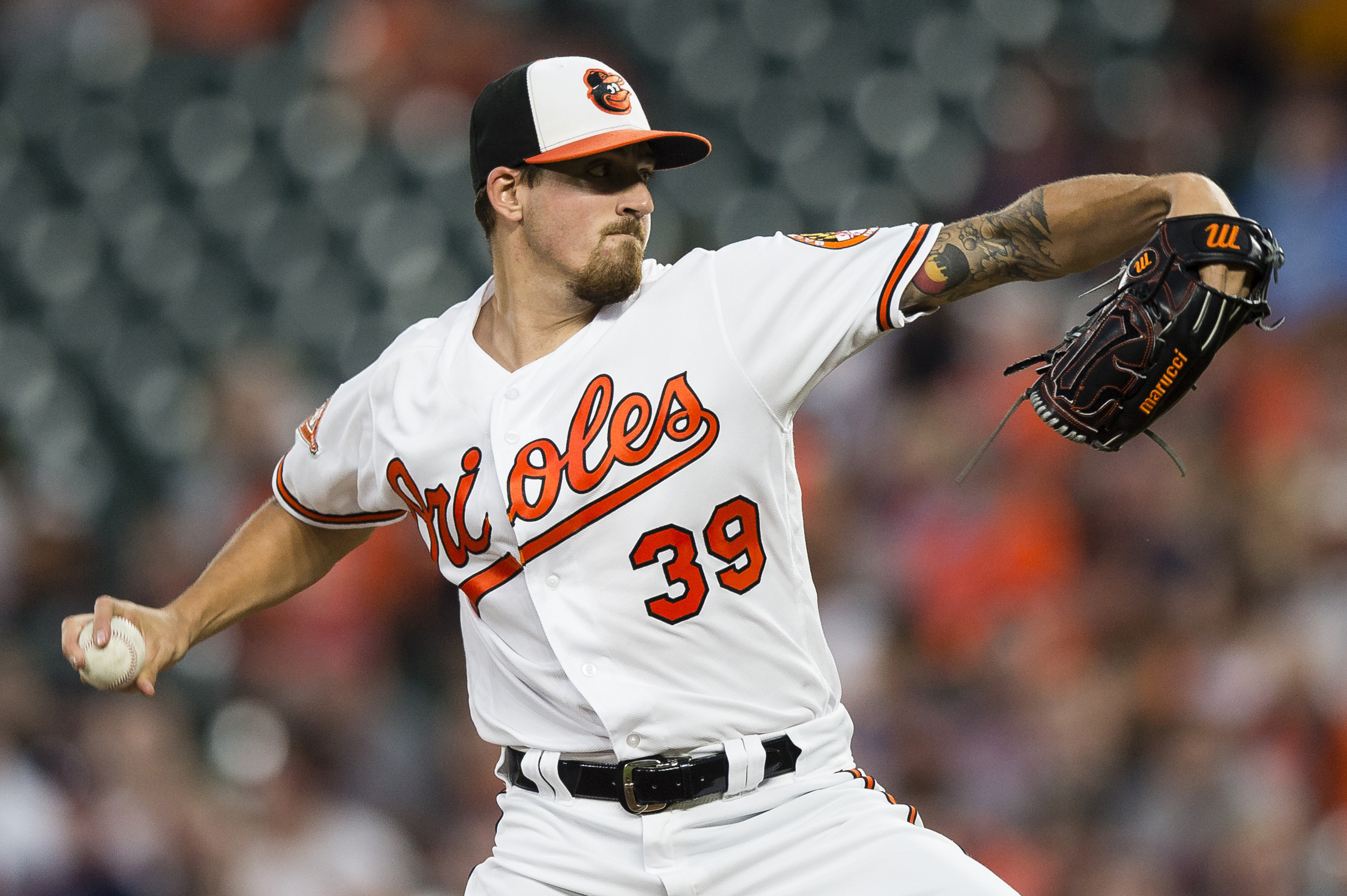 Sep 19, 2017; Baltimore, MD, USA; Baltimore Orioles starting pitcher Kevin Gausman (39) throws a pitch in the first inning against the Boston Red Sox at Oriole Park at Camden Yards. Mandatory Credit: Patrick McDermott-USA TODAY Sports