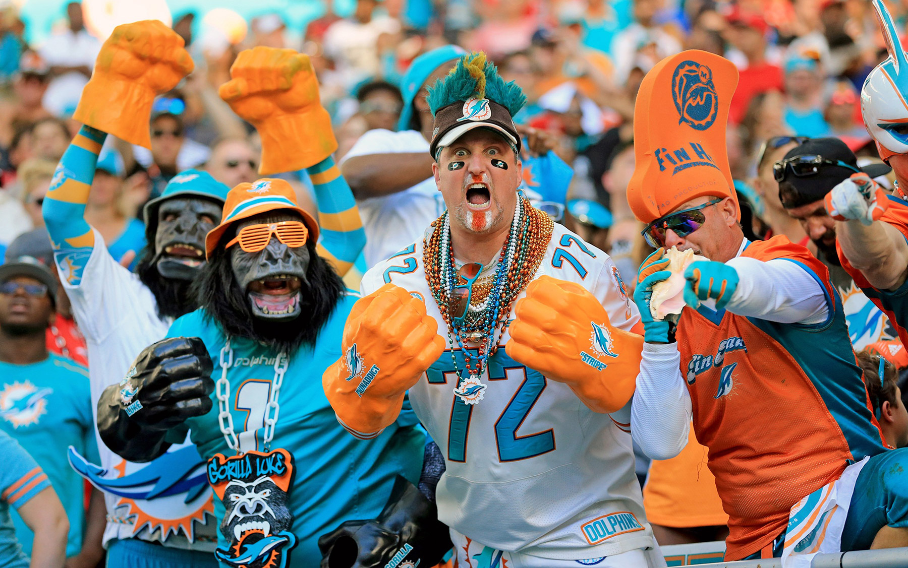 Miami Dolphins fans show their support as the Dolphins host the Tampa Bay Buccaneers