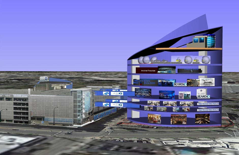A rendering of One Ocean Place in Atlanta. The building is blue with a sloped roof. It is connected by bridges to the Georgia Aquarium.