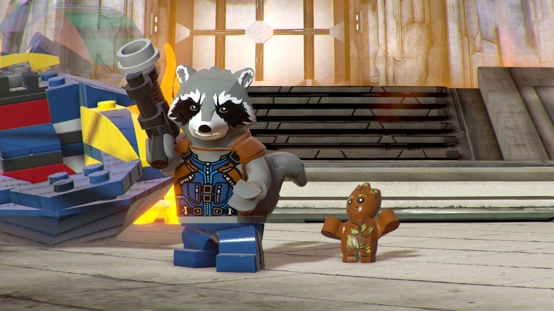 Rocket and Baby Groot wait for action in Lego Marvel Super Heroes 2.