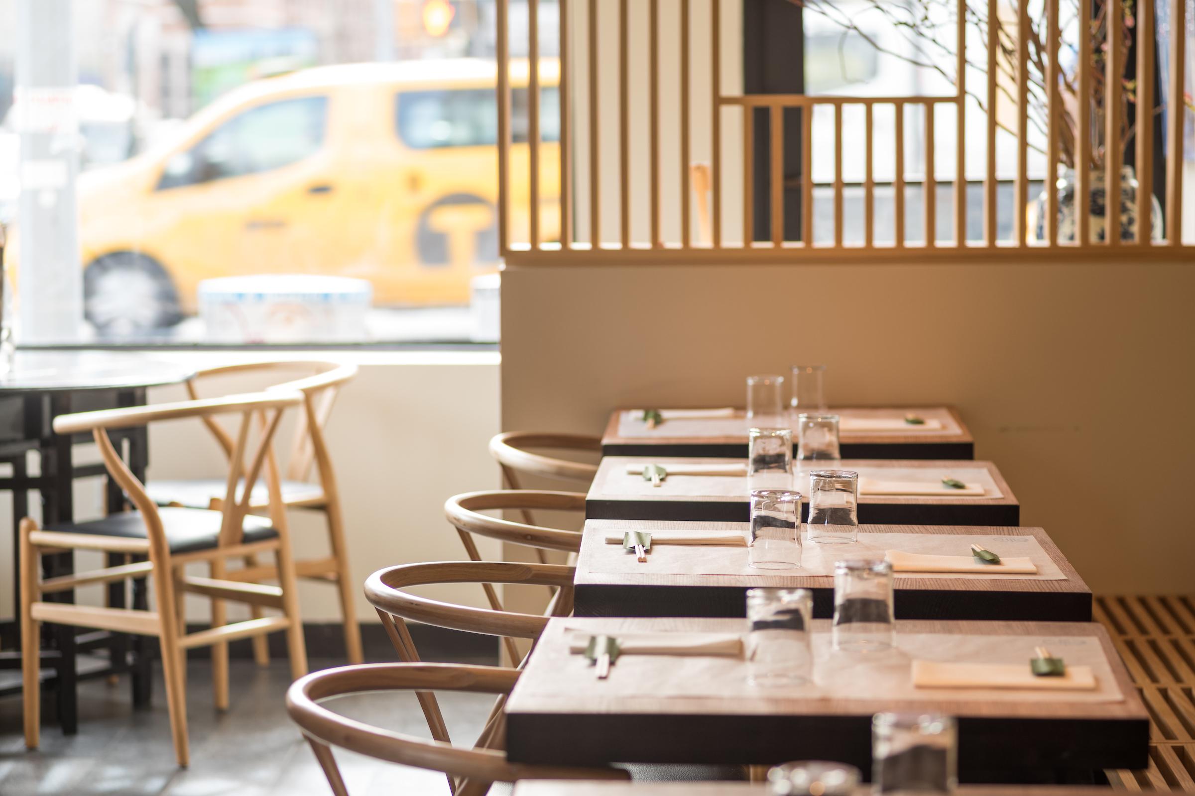 Little Tong Noodle Shop's blonde dining room