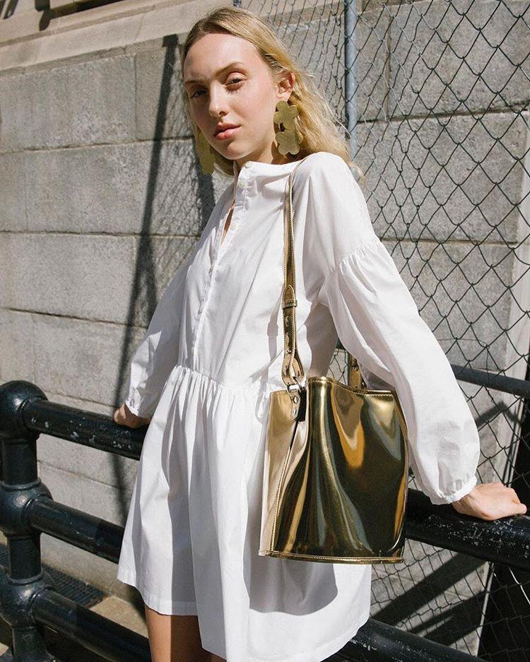 A gold bucket bag
