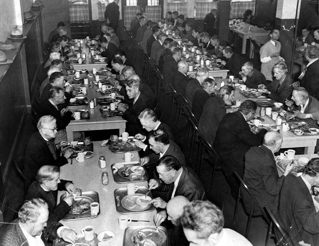 """One of the many charitable organizations that declared """"open house"""" was theMidnightMission, who served Thanksgiving dinner to less fortunate Los Angeles residents. The men had their turkey, too, along with all persons celebrating Thanksgiving."""