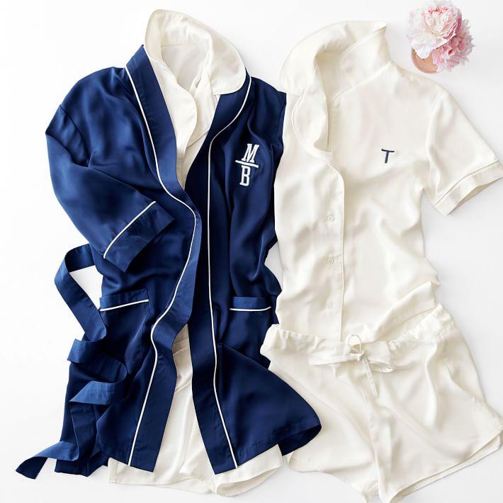 Blue and white monogrammed pajamas