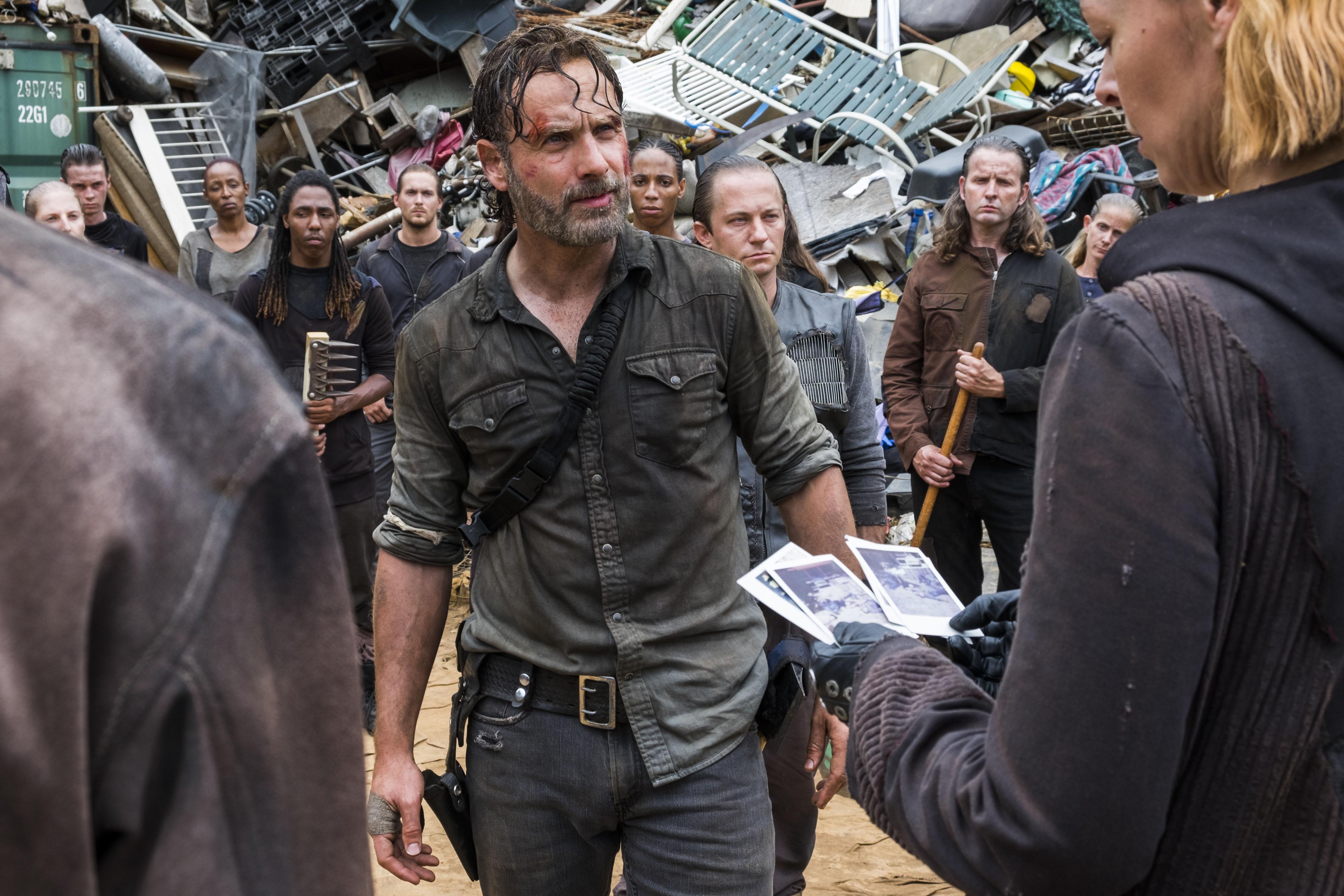Andrew Lincoln as Rick Grimes, Pollyanna McIntosh as Jadis - The Walking Dead _ Season 8, Episode 6 - Photo Credit: Gene Page/AMC