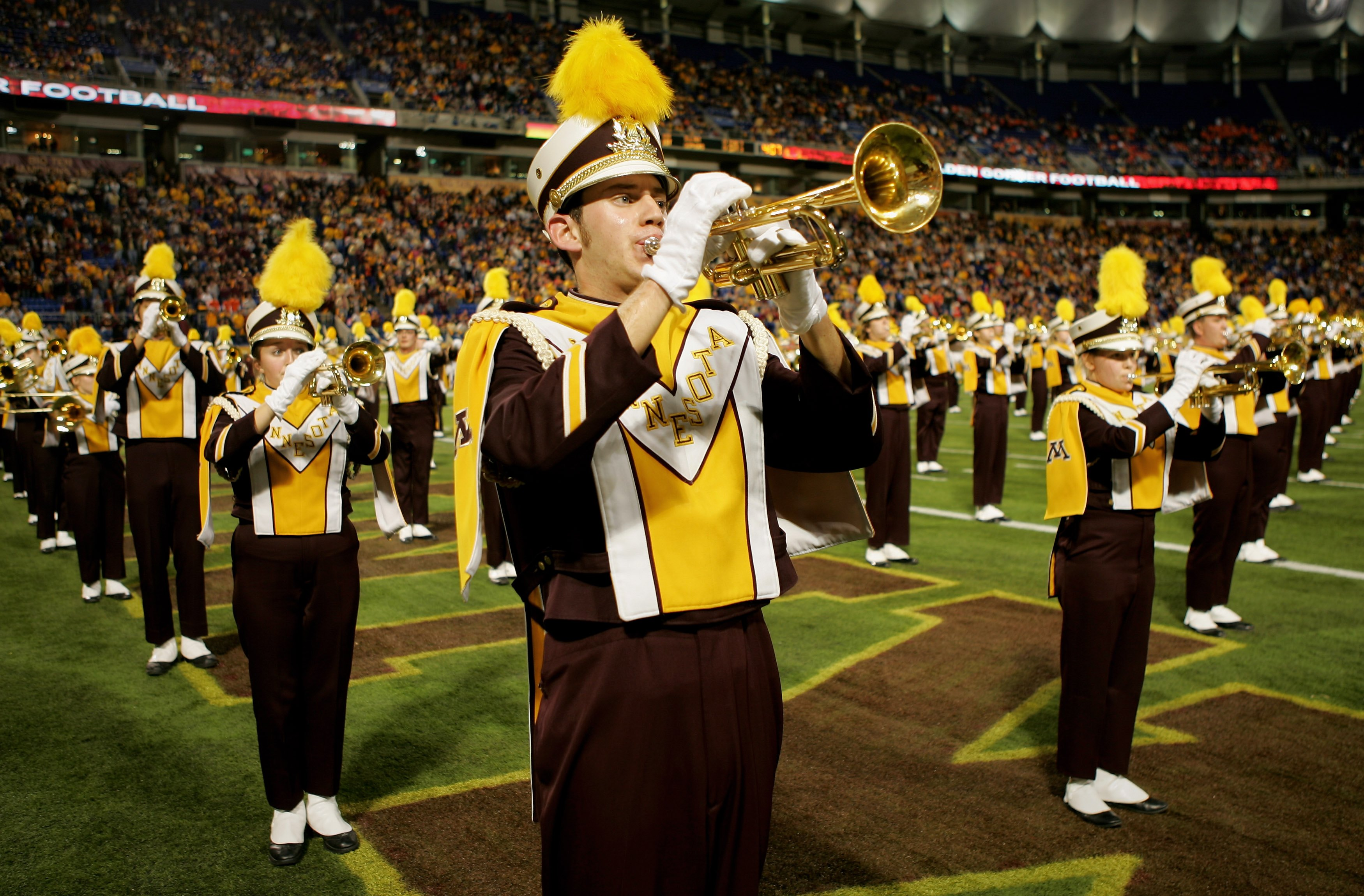 MINNEAPOLIS, MN - NOVEMBER 03:  The Minnesota Golden Gophers marching band performs prior to facing the Illinois Fighting Illini at the Hubert H. Humphrey Metrodome on November 3, 2007 in Minneapolis, Minnesota. Illinois defeated Minnesota 44-17.  (Photo by Doug Pensinger/Getty Images)
