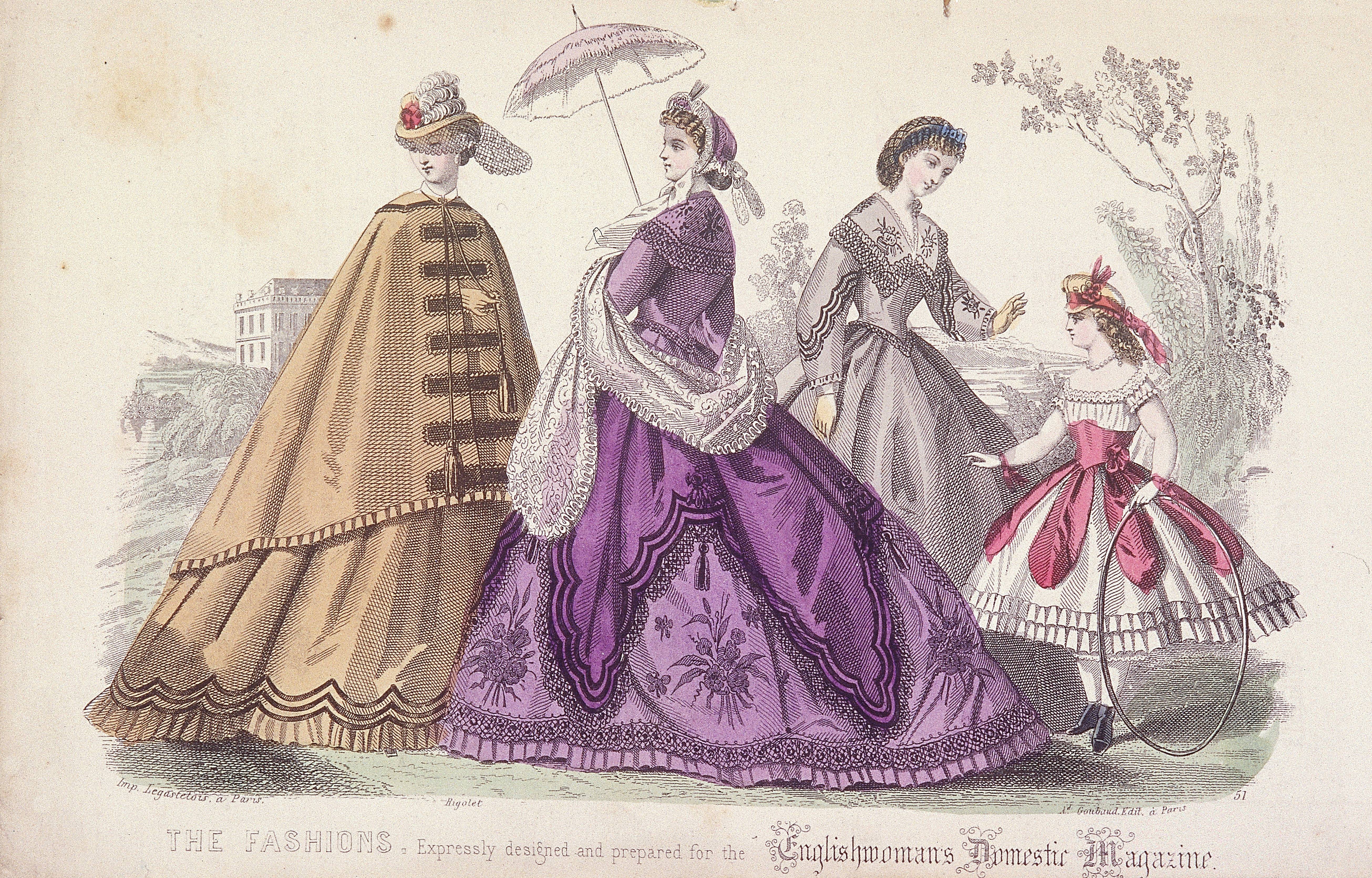 Three women and a child wearing the latest fashions in cage crinoline.