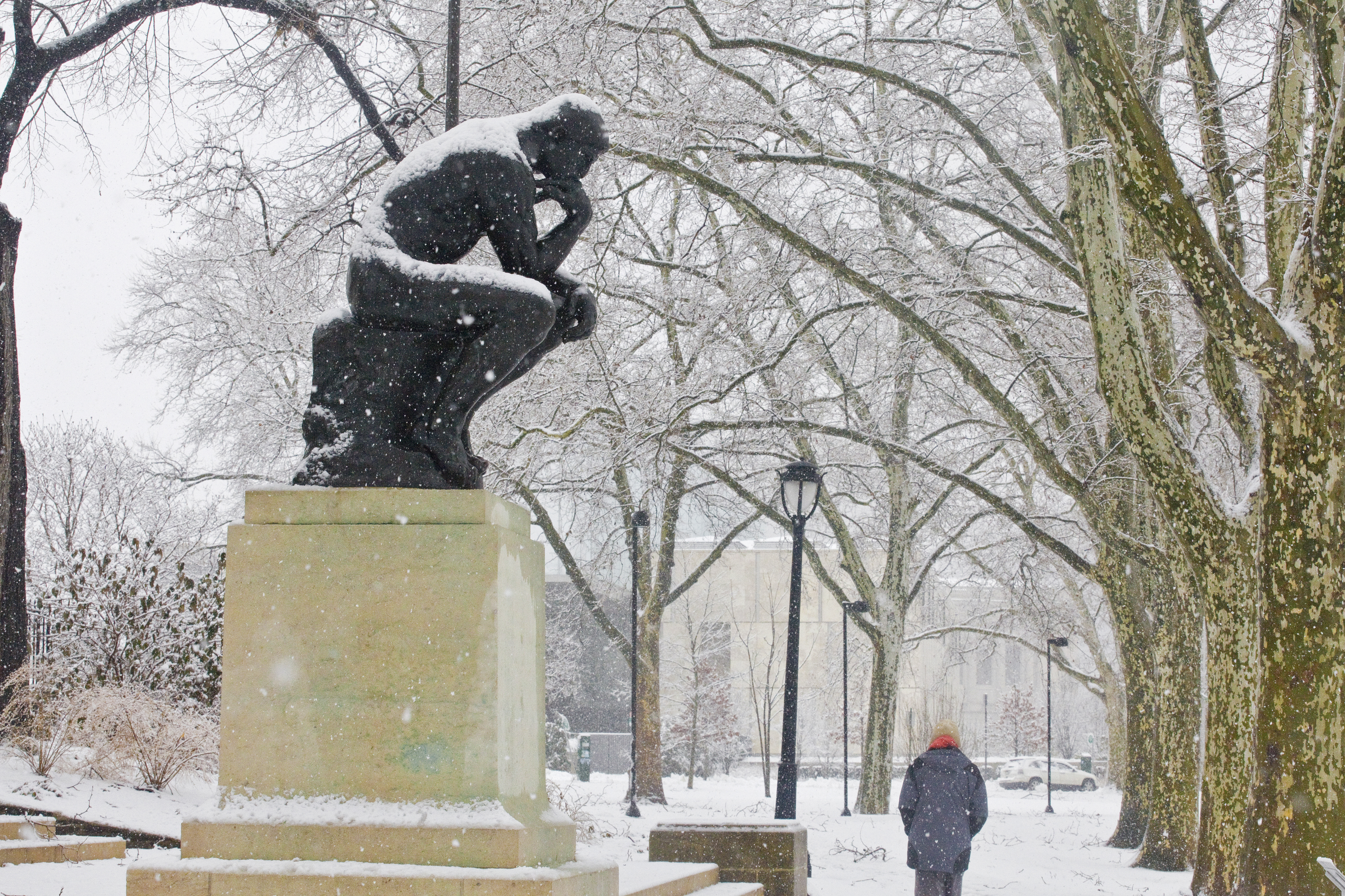 The Thinker looks even more pensive with a dusting of snow. Situated along Philadelphia�s culture-packed Benjamin Franklin Parkway, the Rodin Museum houses the largest collection of the works of Auguste Rodin outside of his native France.