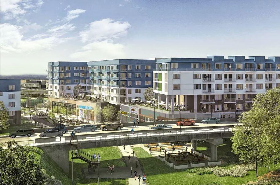An apartment building straddling the Beltline