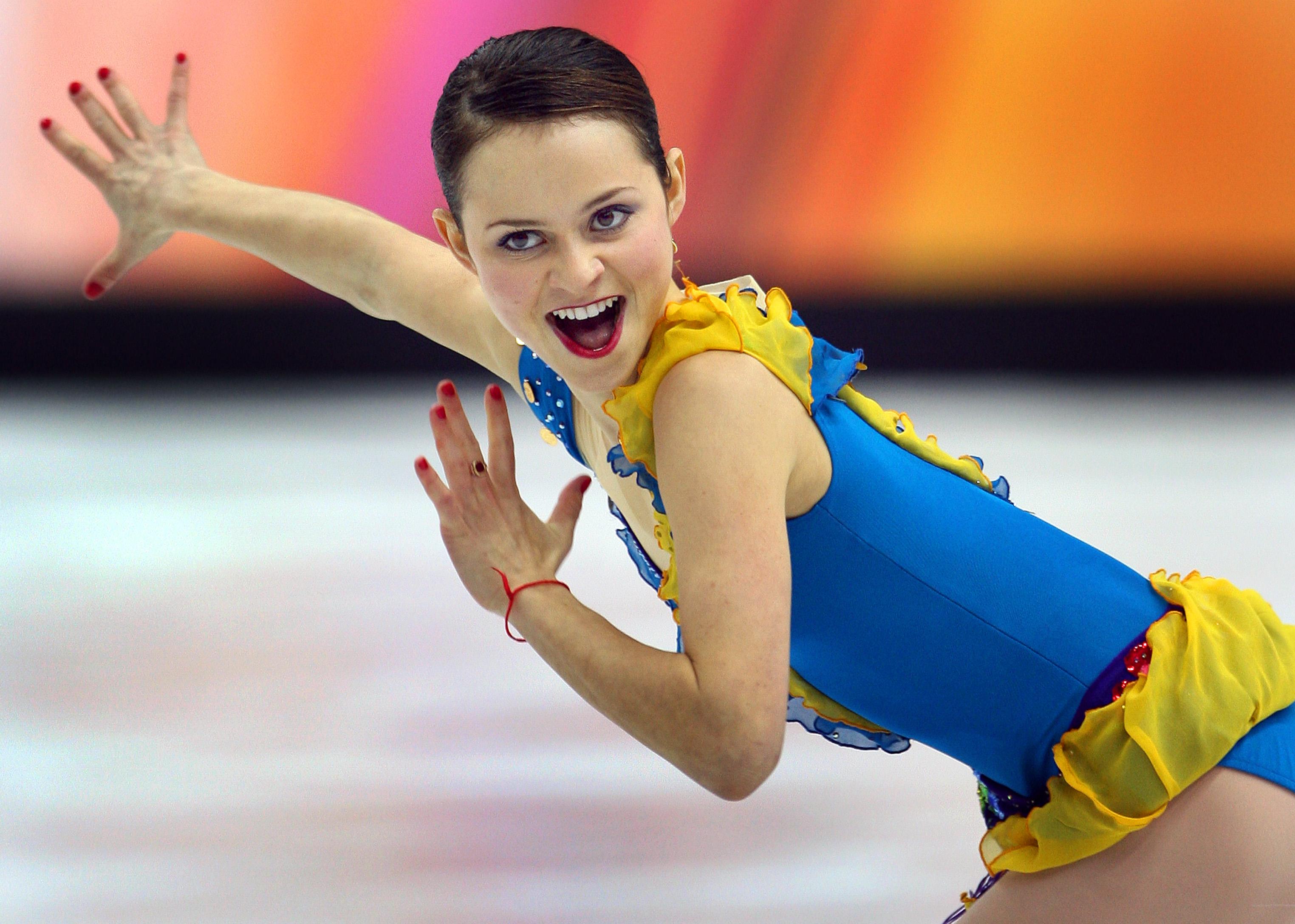 "Sasha Cohen skating to ""Dark Eyes"" in the Ladies' Short Program at the 2006 Olympics."