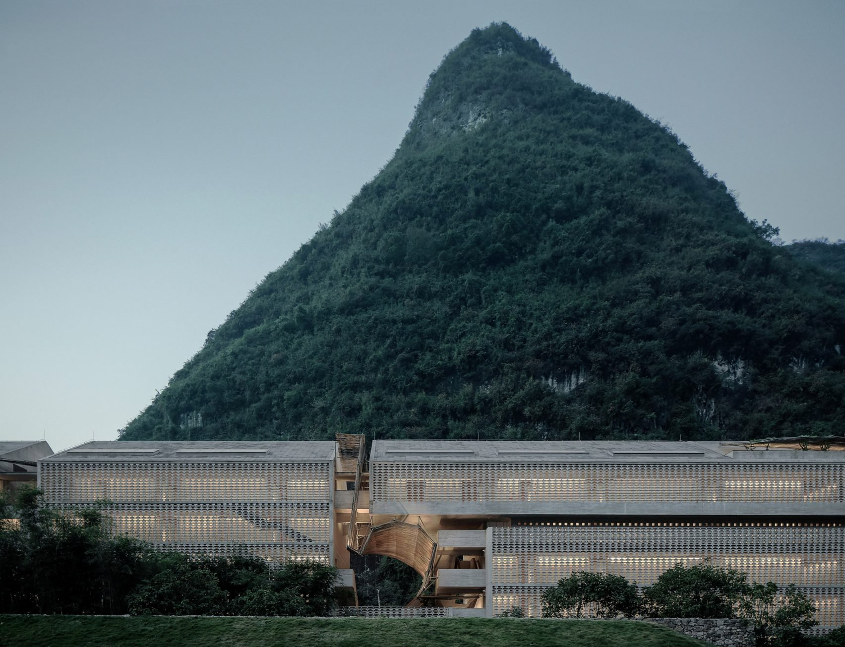 an old sugar mill is transformed into a dramatic concrete hotel