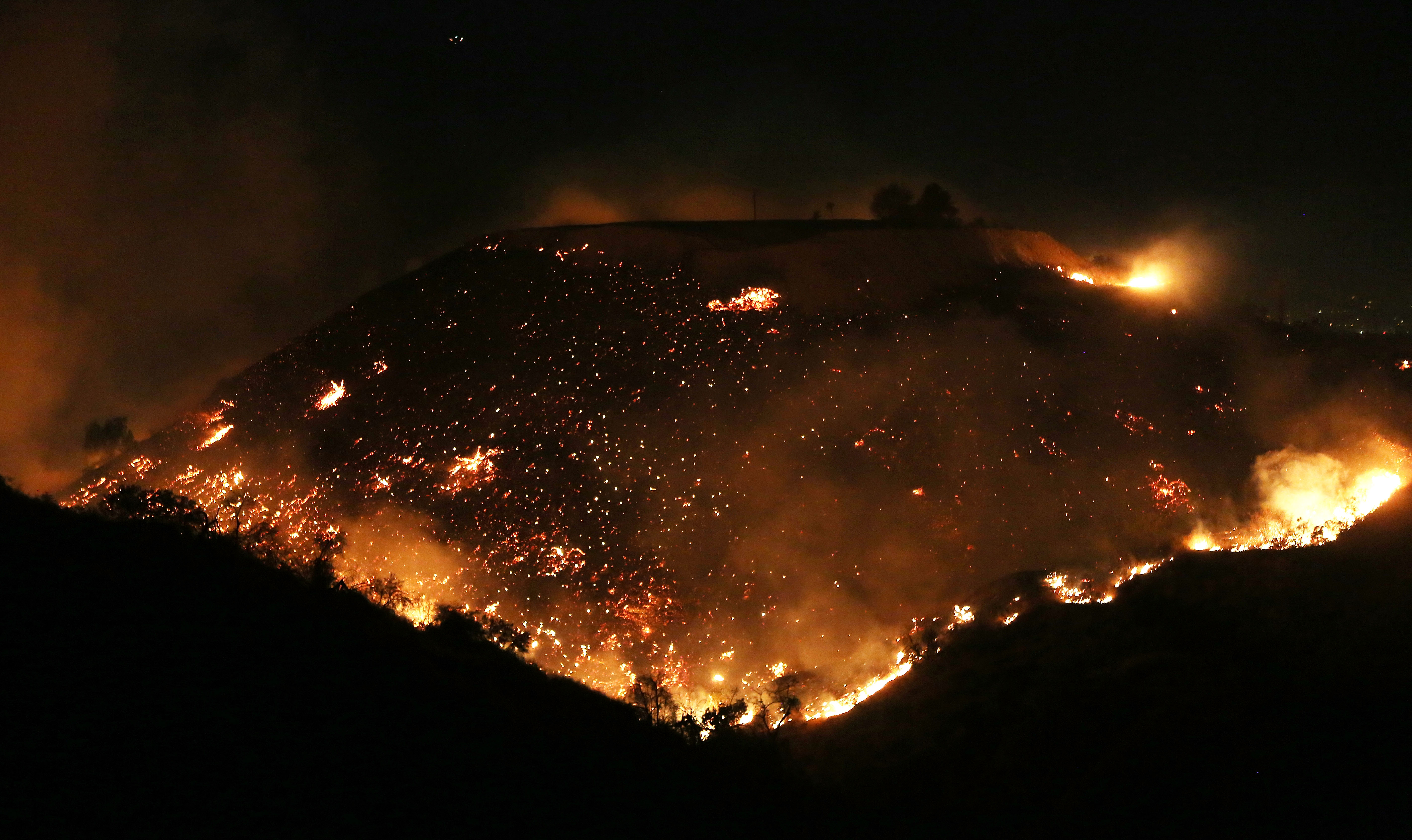 Fire on hillside