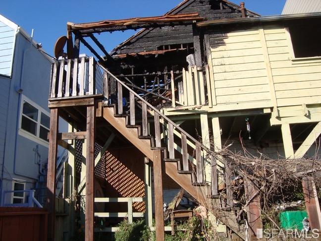 A fire damaged house in Bernal Heights
