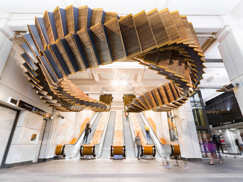 Wooden escalators transformed into sculpture