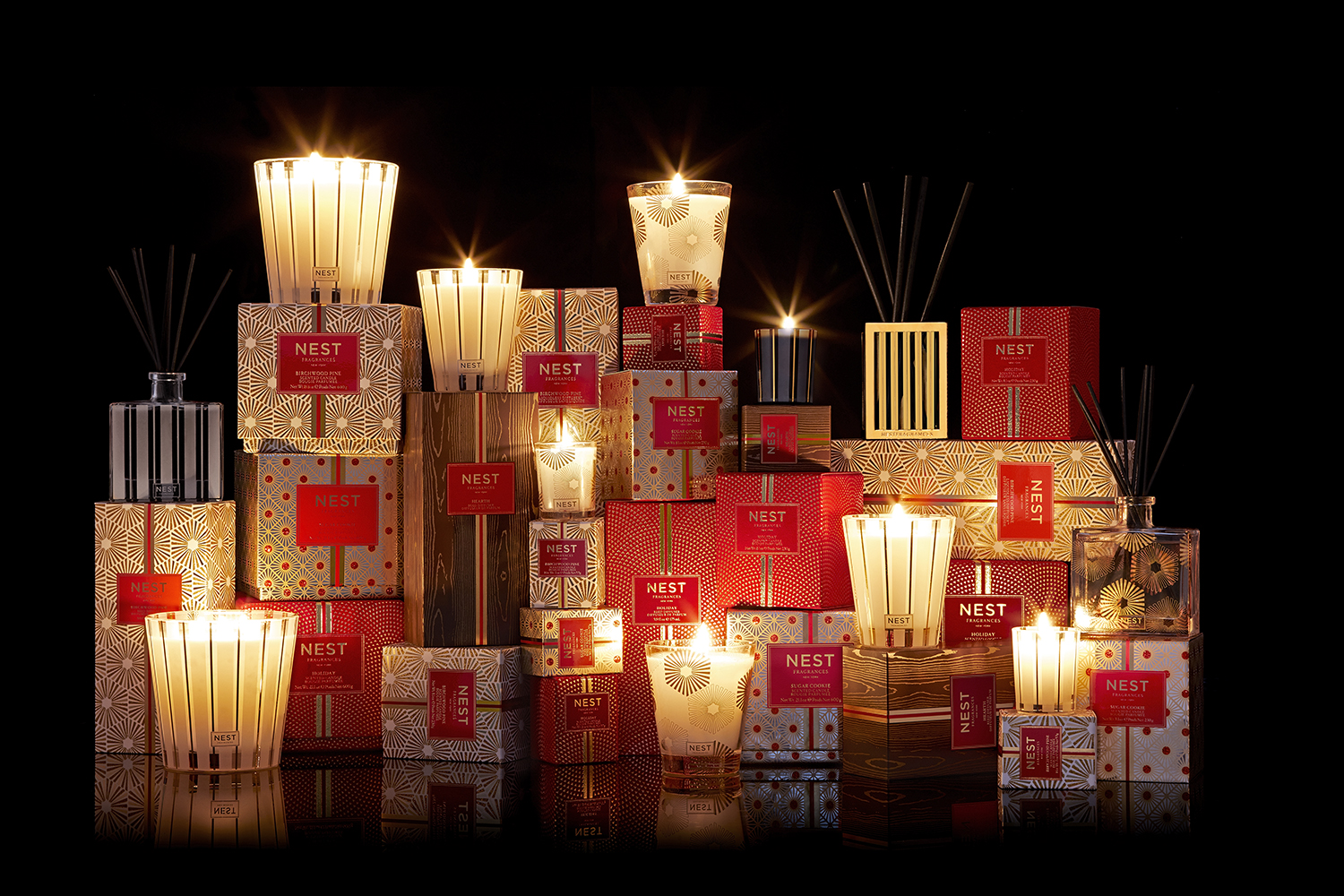Nest's collection of holiday candles