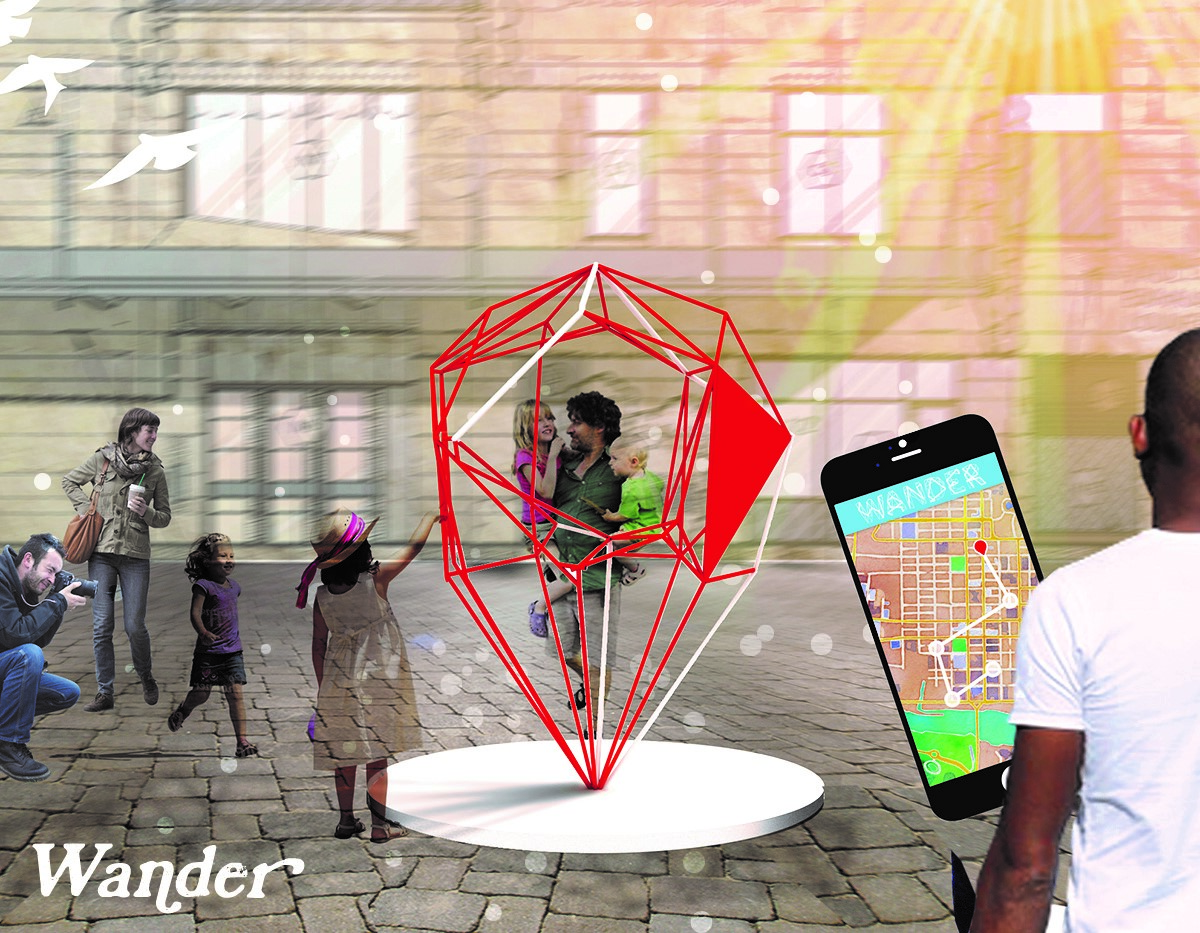 Illustration of people at red abstract sculpture and hand holding mobile phone in foreground
