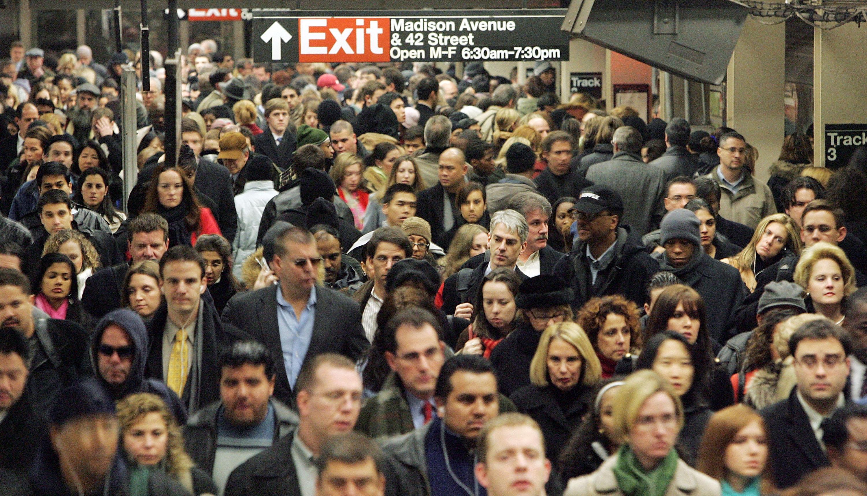 A New York City crowd.