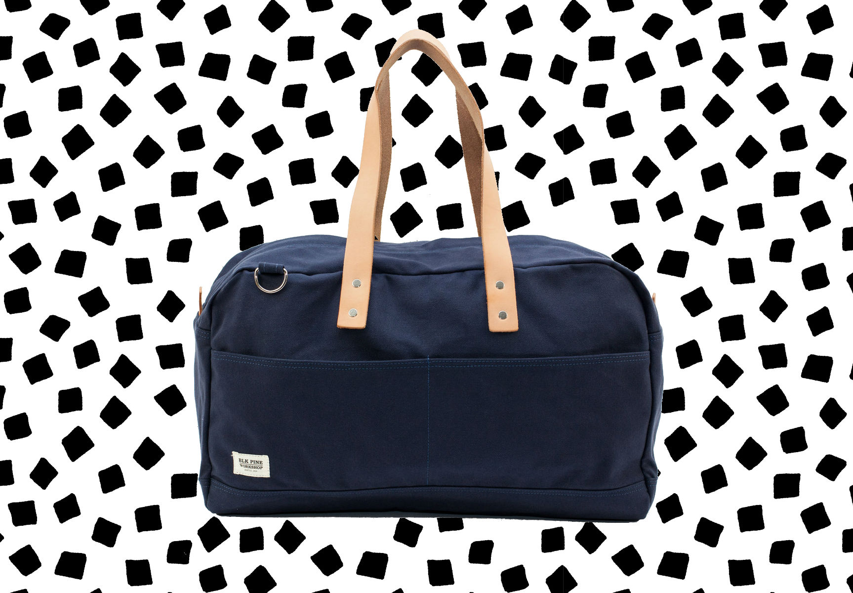 A navy canvas and leather bag