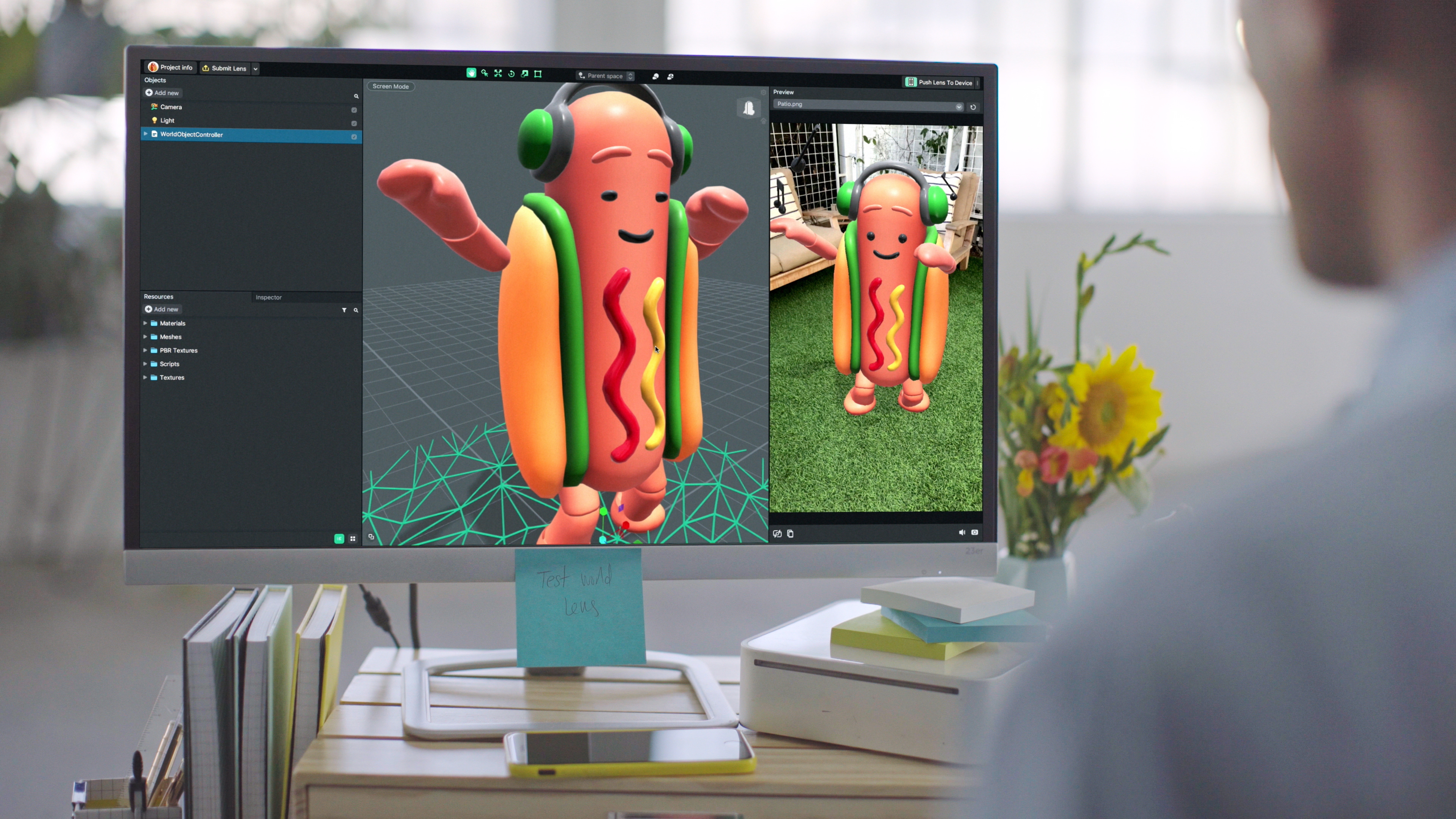 An augmented reality dancing hotdog on a computer screen