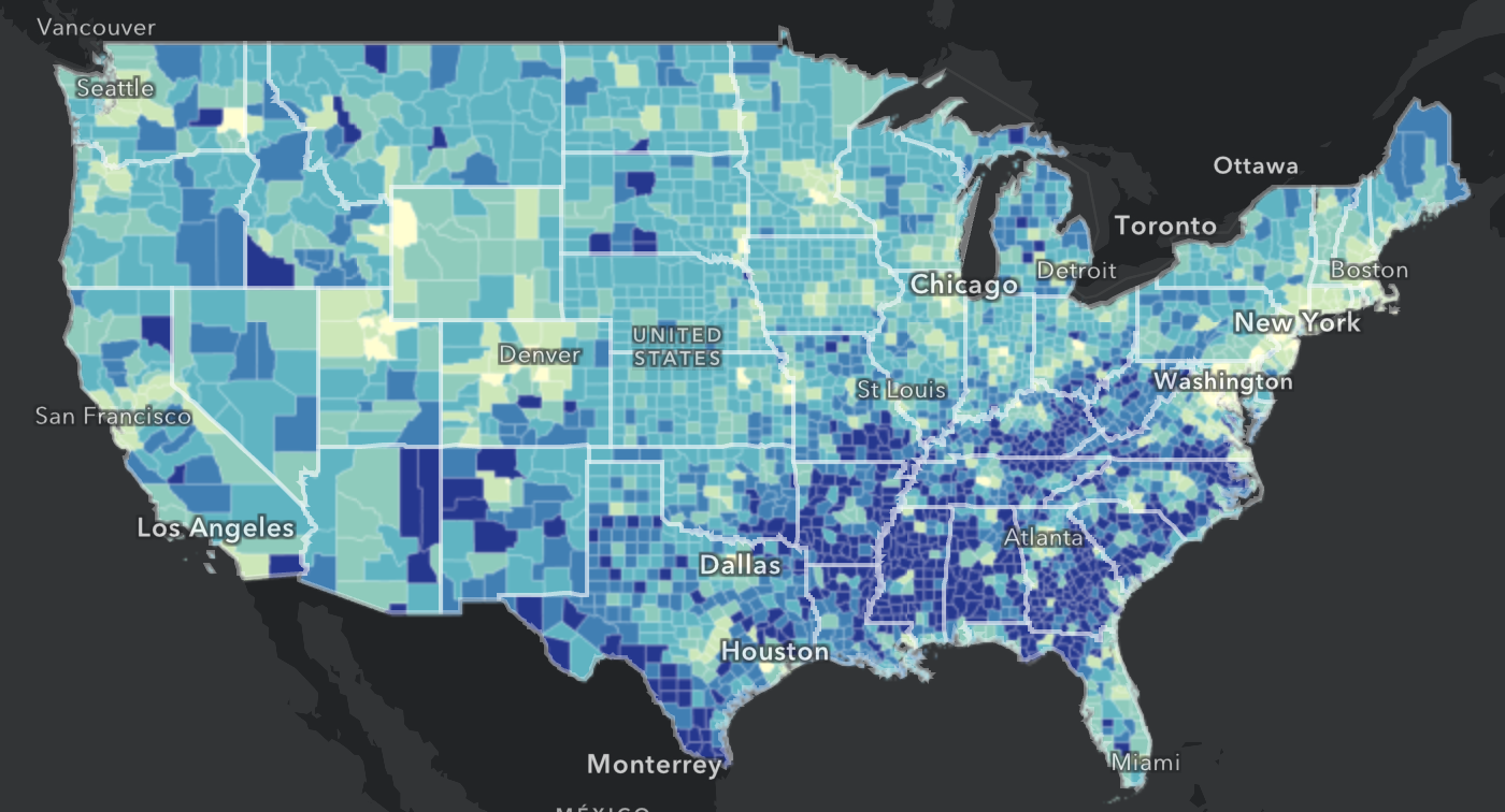 Map of internet access for U.S. adults