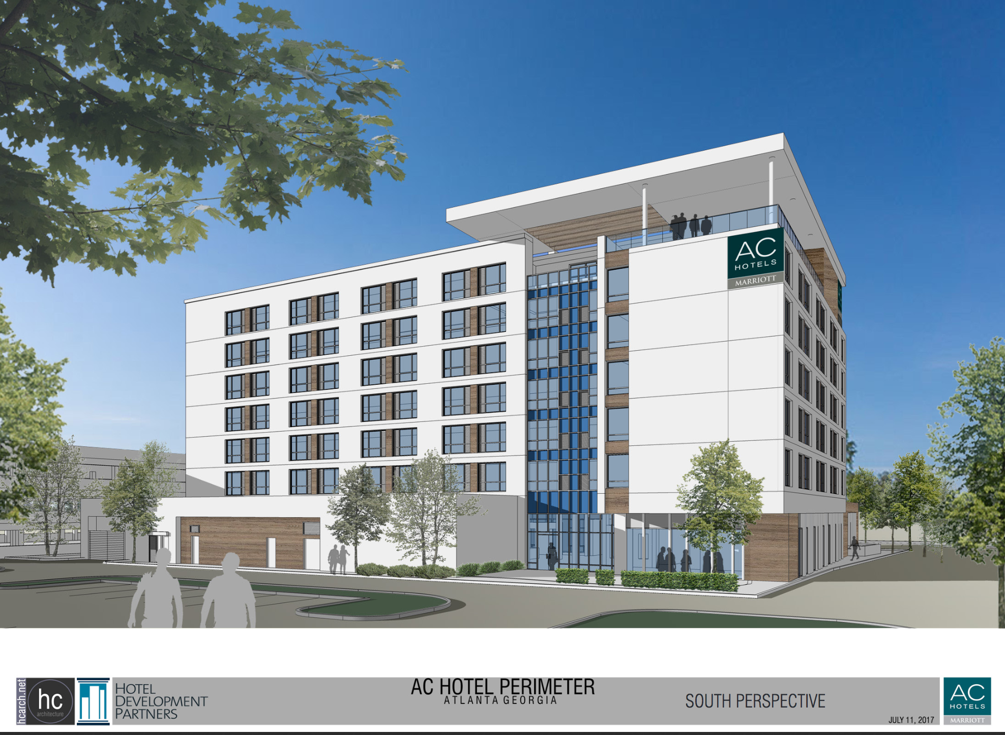 A rendering of the seven-story hotel with white modern facade.
